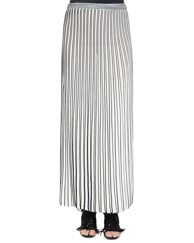 Proenza schouler Pleated Long Knit Skirt in White | Lyst