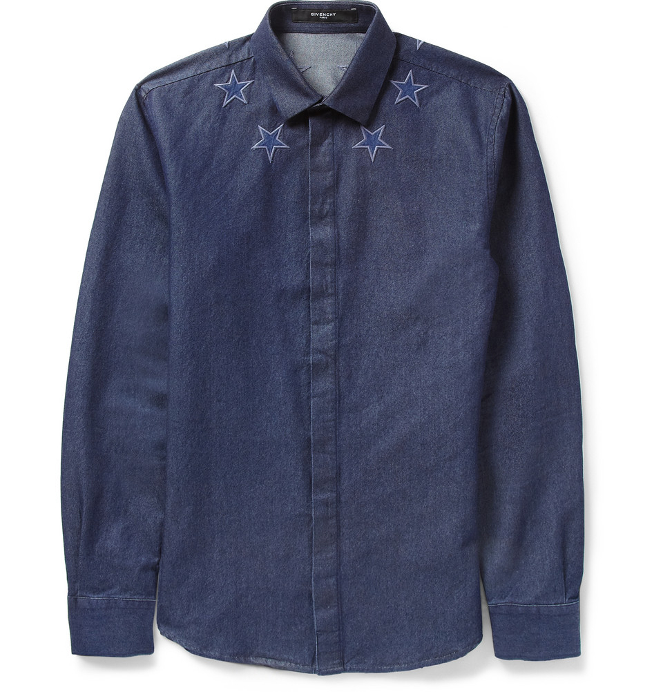 Lyst givenchy embroidered startrim denim shirt in blue