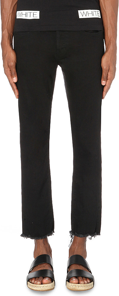 Off-white c/o virgil abloh Slim-fit Tapered Cropped Jeans in Black ...