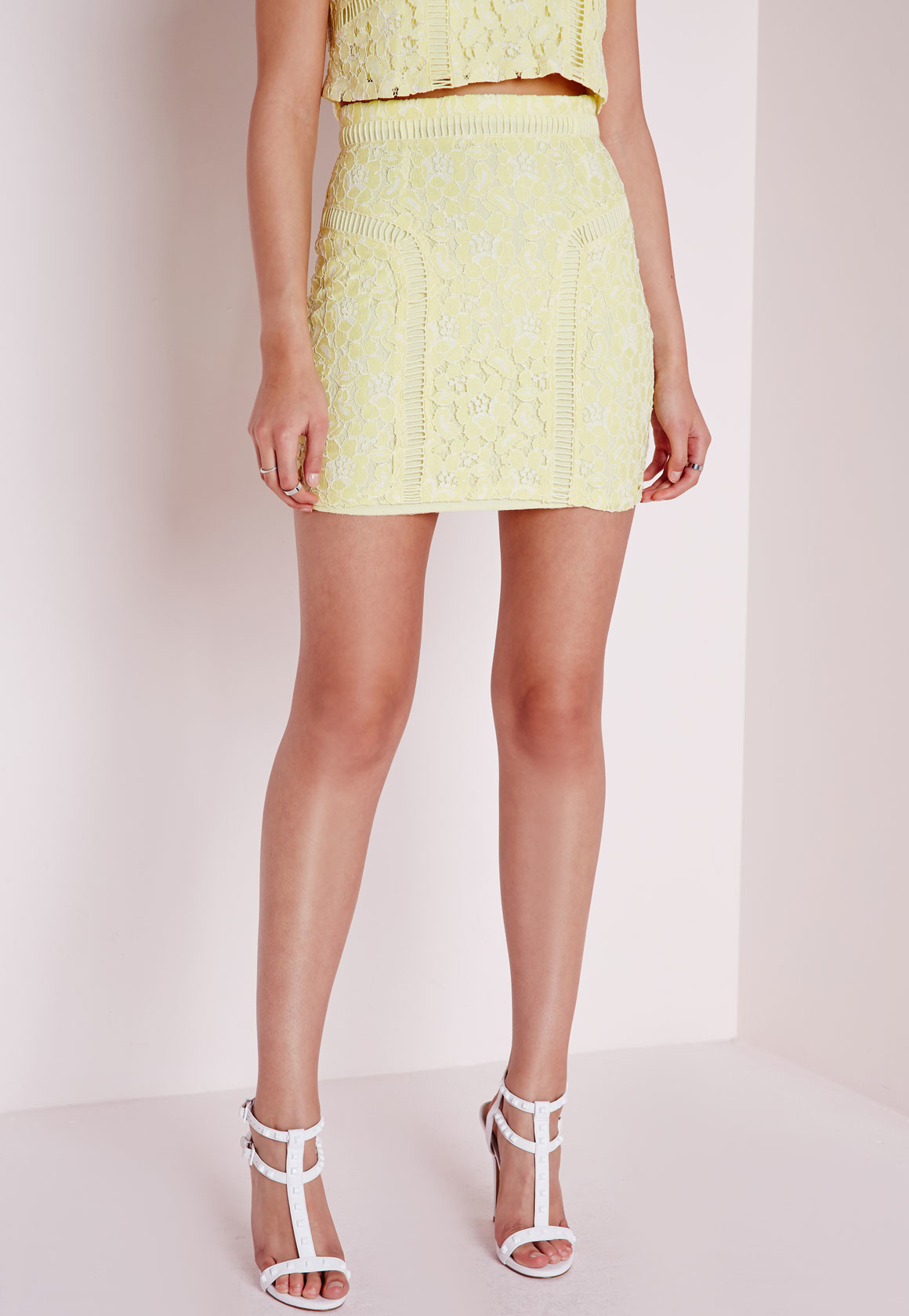 Missguided Lace & Ladder Detail Mini Skirt Yellow in ...