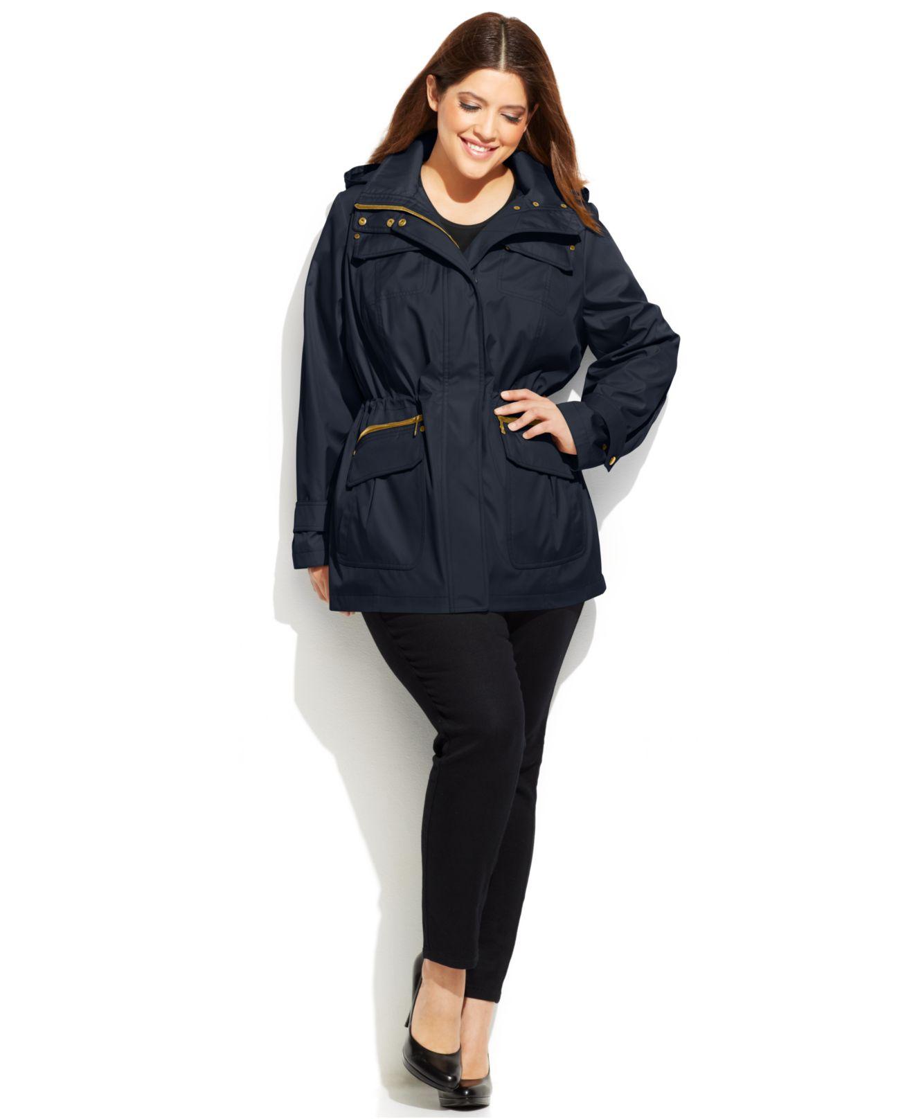 ea0e4e1d05c Michael Kors Michael Plus Size Hooded Anorak Jacket in Blue - Lyst