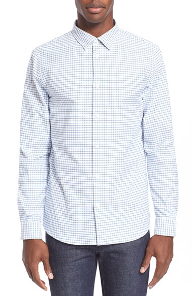 Lyst a p c extra trim fit check shirt in blue for men for Extra trim fit dress shirt