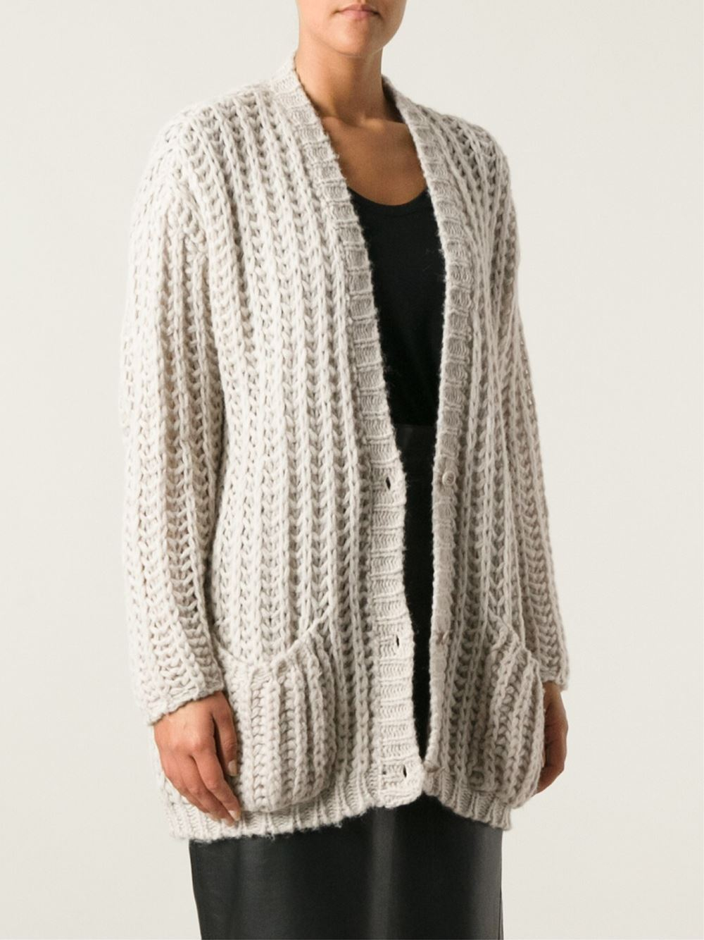Chunky Cardigan Knitting Pattern : Nude Chunky Knit Cardigan in Natural Lyst