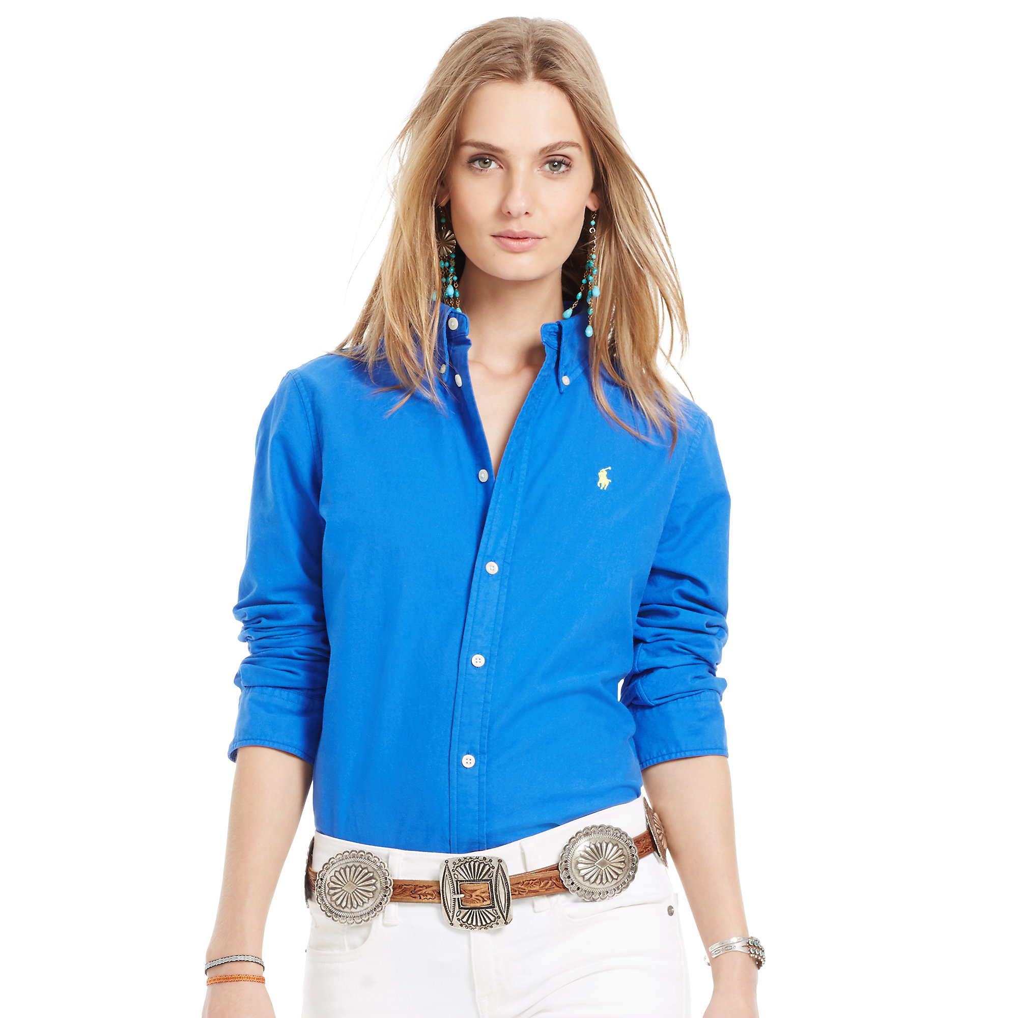 1b937e5bb2 Lyst - Polo Ralph Lauren Custom-fit Oxford Shirt in Blue