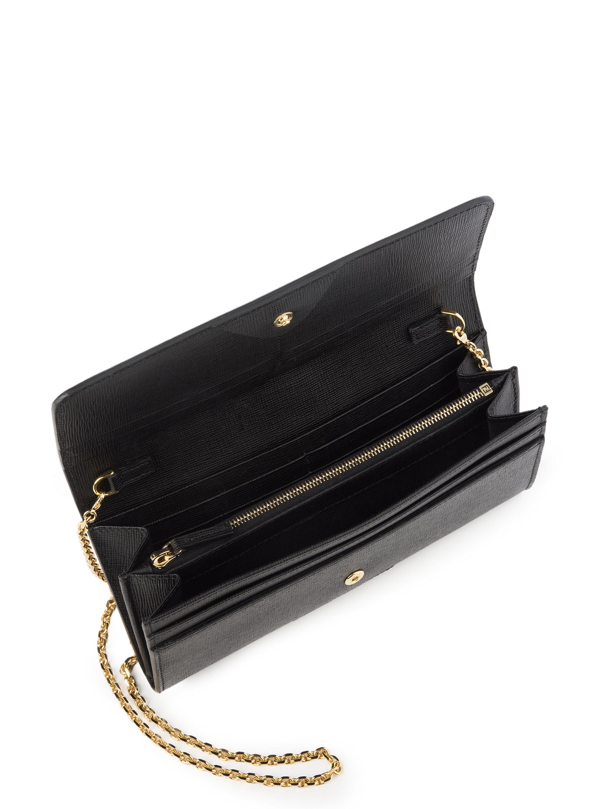 82df979103 Lyst - Fendi Monster Leather Chain Wallet in Black