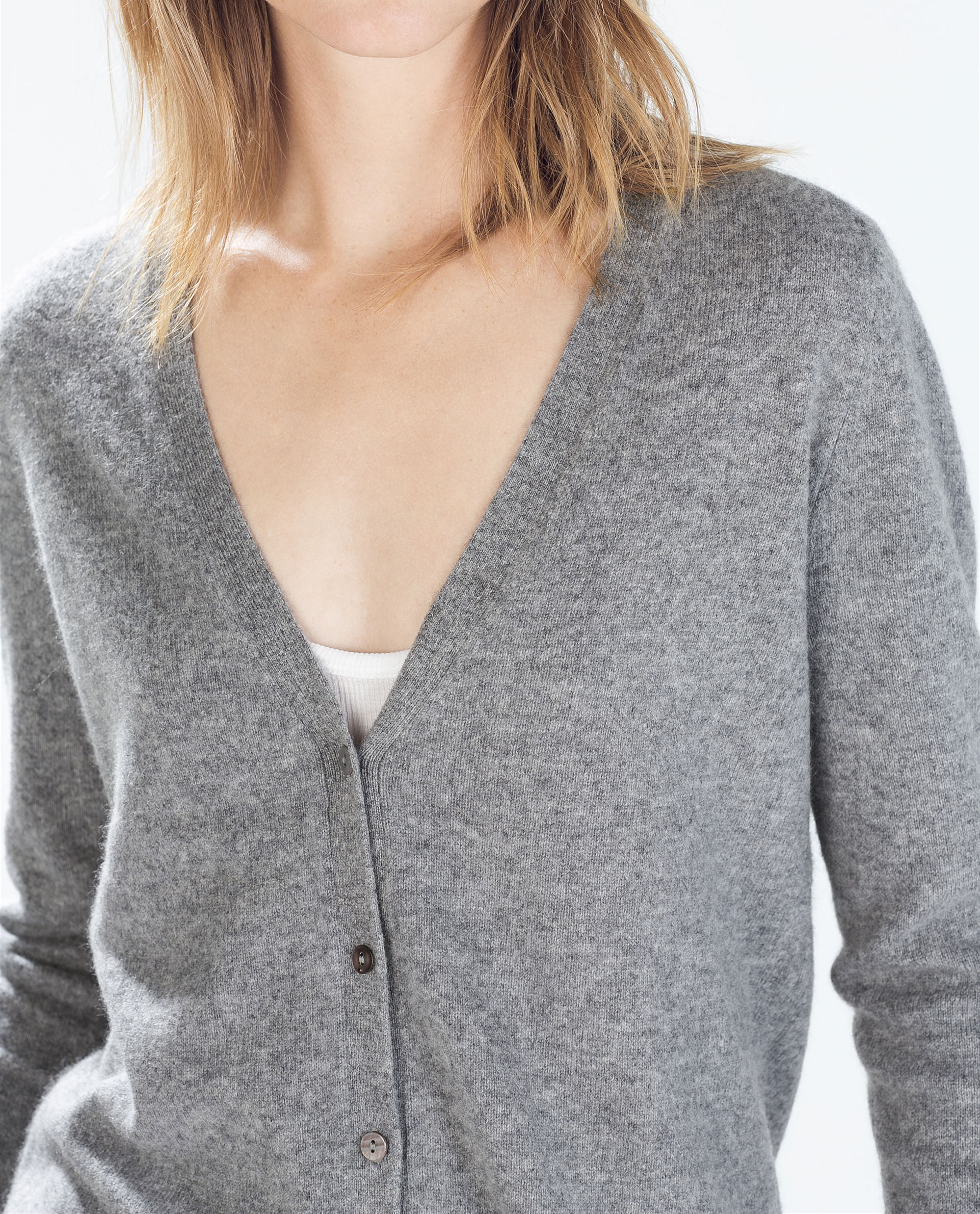 Zara Grey Ribbed Sweater With Side Slits 36