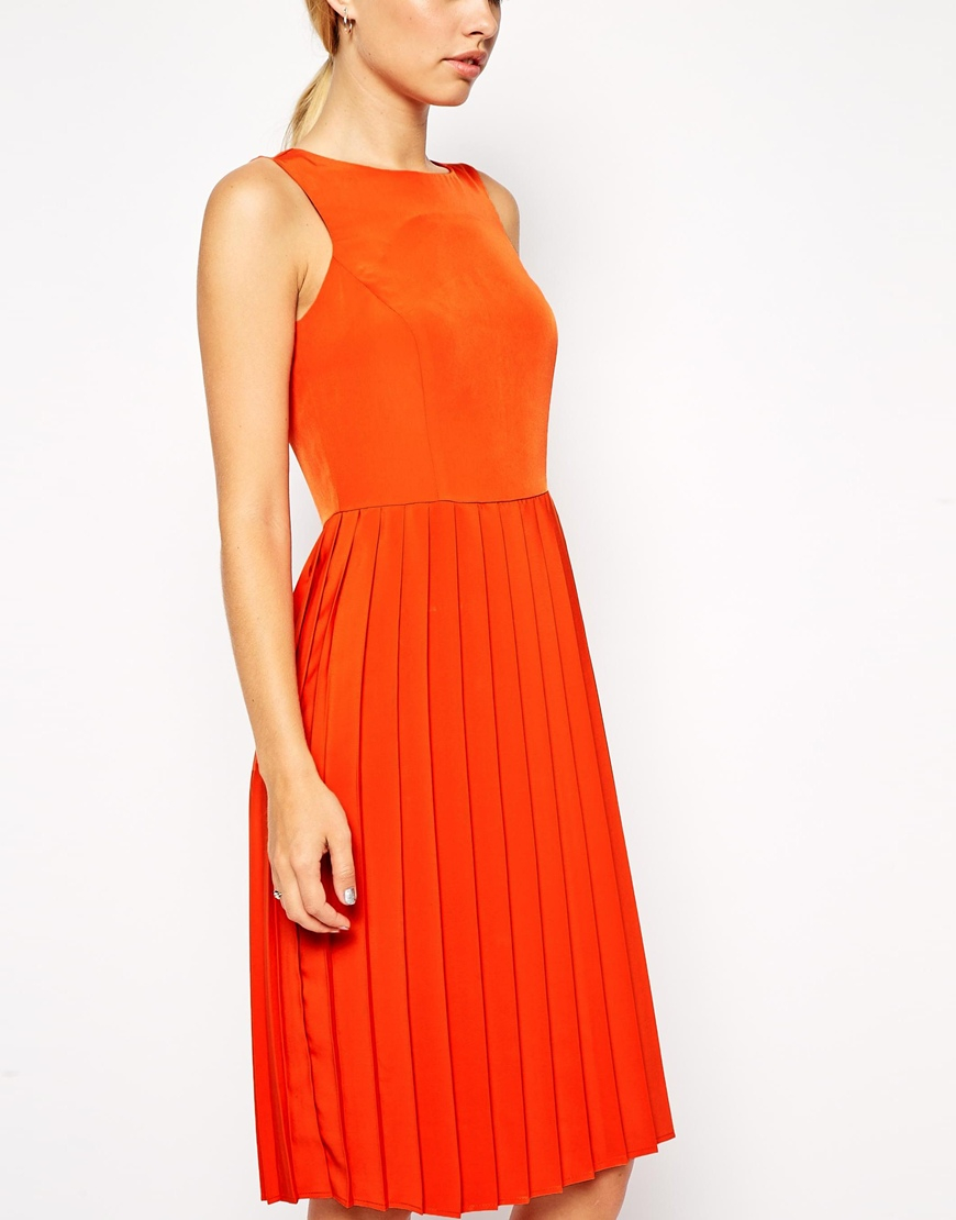 Asos Midi Skater Dress With Pleated Skirt In Red Lyst