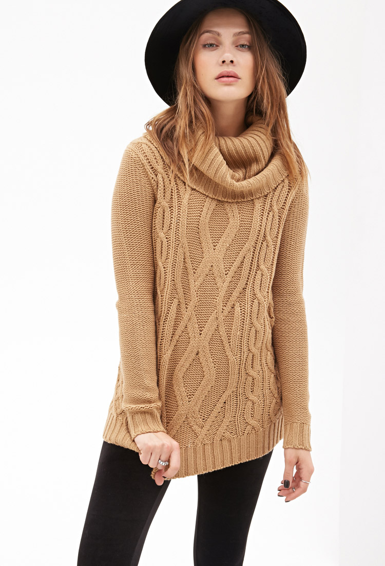 Lyst Forever 21 Turtleneck Cable Knit Sweater In Natural