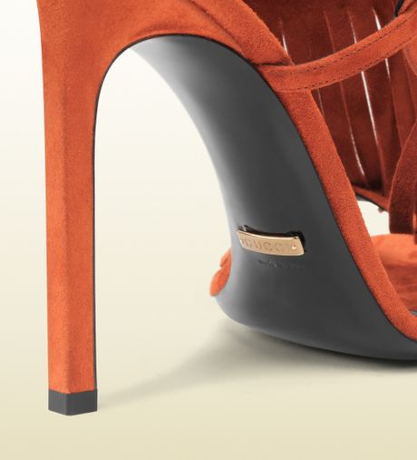 Gucci Becky Suede Fringed High Heel Sandal In Orange Lyst