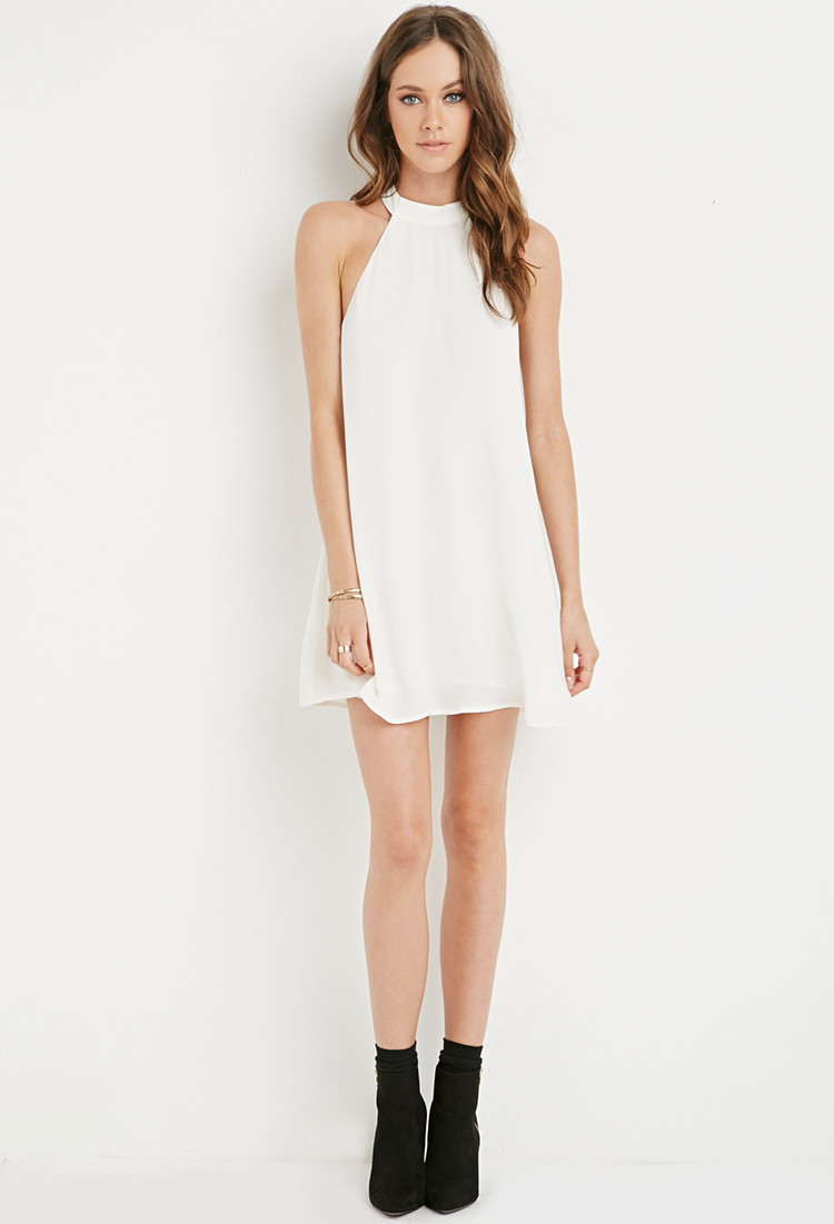 Lyst - Forever 21 Halter Trapeze Dress in White - photo #25