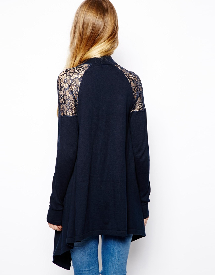Asos Waterfall Cardigan with Lace Shoulder Detail in Blue | Lyst