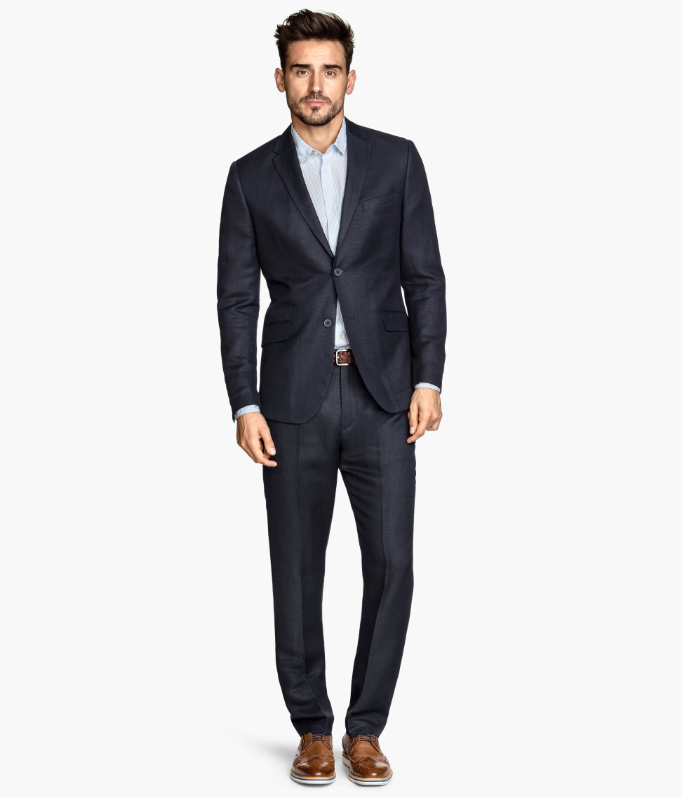 h m suit trousers in a linen blend in blue for men lyst