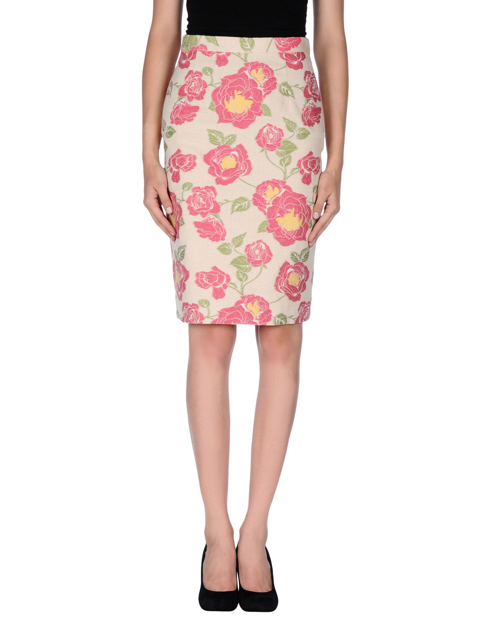 boutique moschino knee length skirt in floral beige lyst