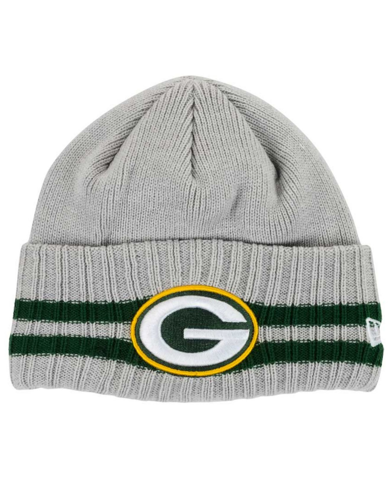 Lyst - KTZ Green Bay Packers Striped Cuff Knit Hat in Gray for Men 6759cf726973