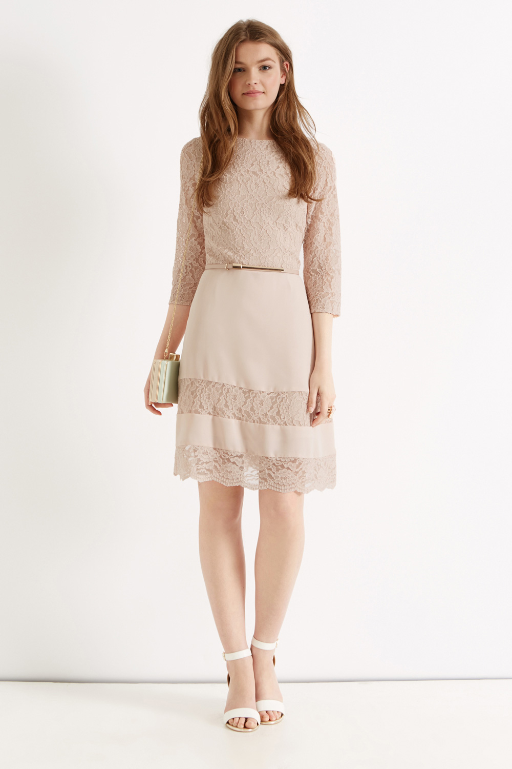 Oasis Lace Stripe Skater In Pink