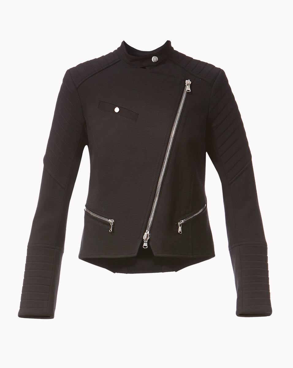 lyst veronica beard cropped moto jacket in black. Black Bedroom Furniture Sets. Home Design Ideas
