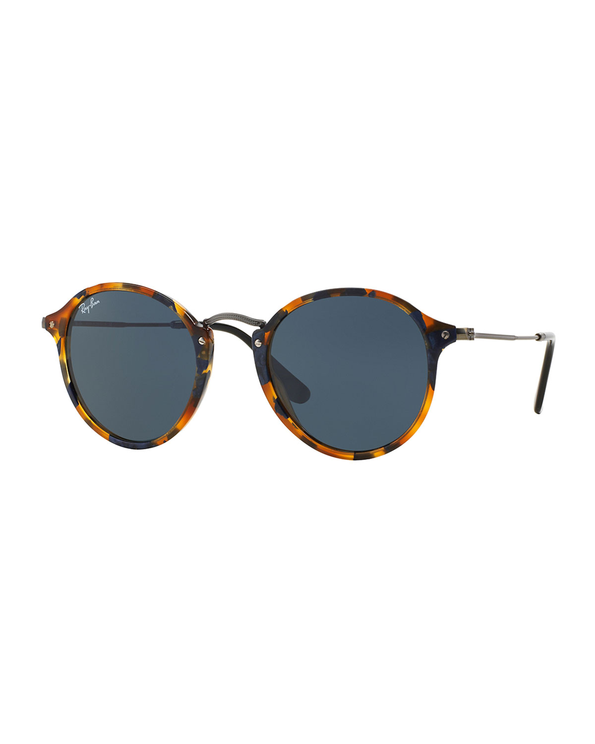 ray ban round plastic metal sunglasses in green black lyst. Black Bedroom Furniture Sets. Home Design Ideas