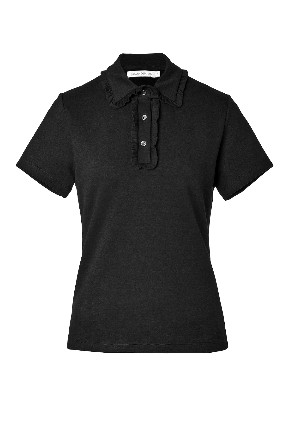 Lyst j w anderson stretch cotton polo shirt with ruffle for Black cotton polo shirt