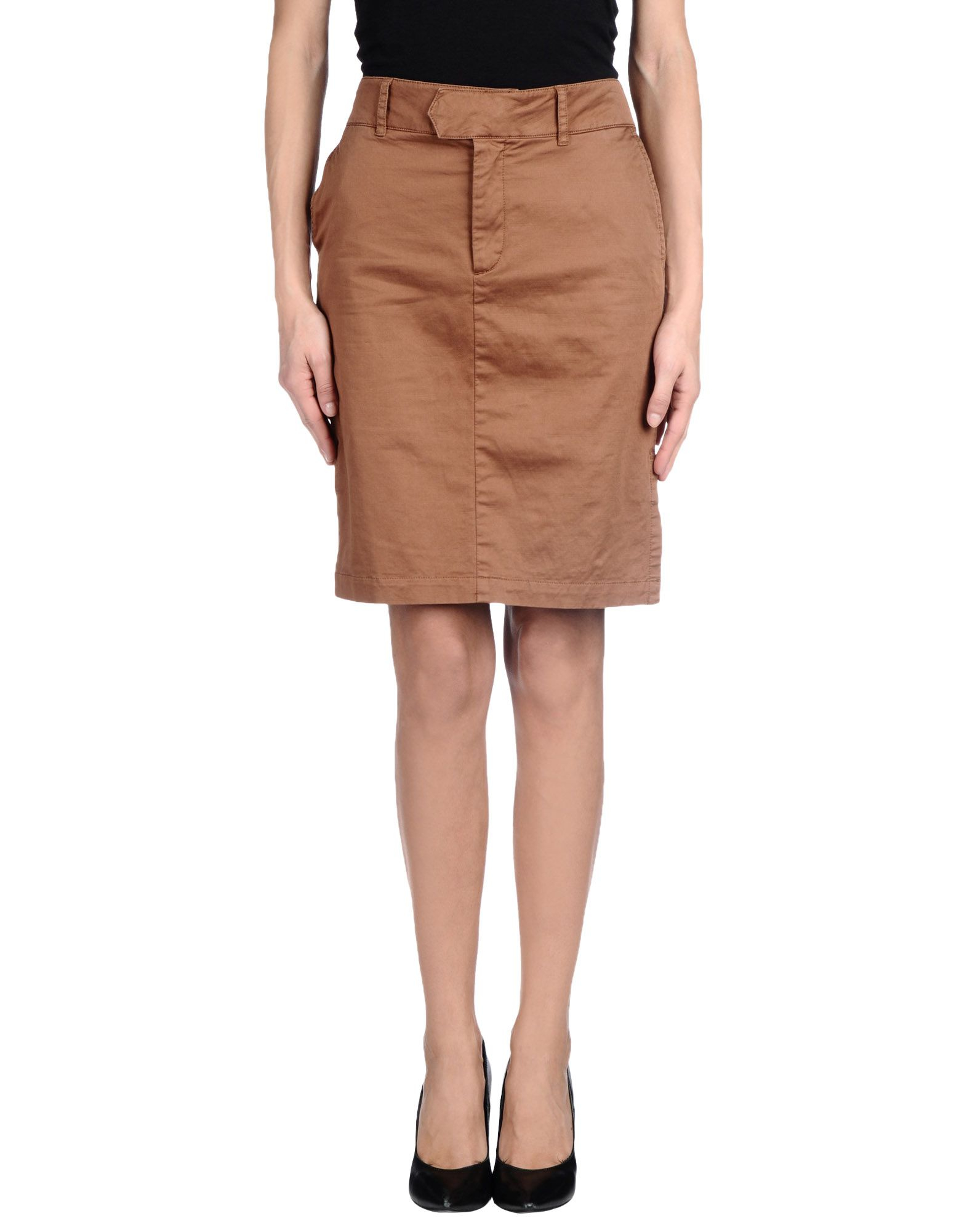 set knee length skirt in brown cocoa lyst