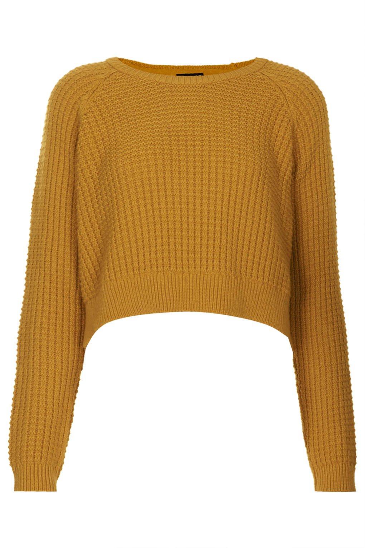 Topshop Fisherman Cropped Sweater in Orange | Lyst