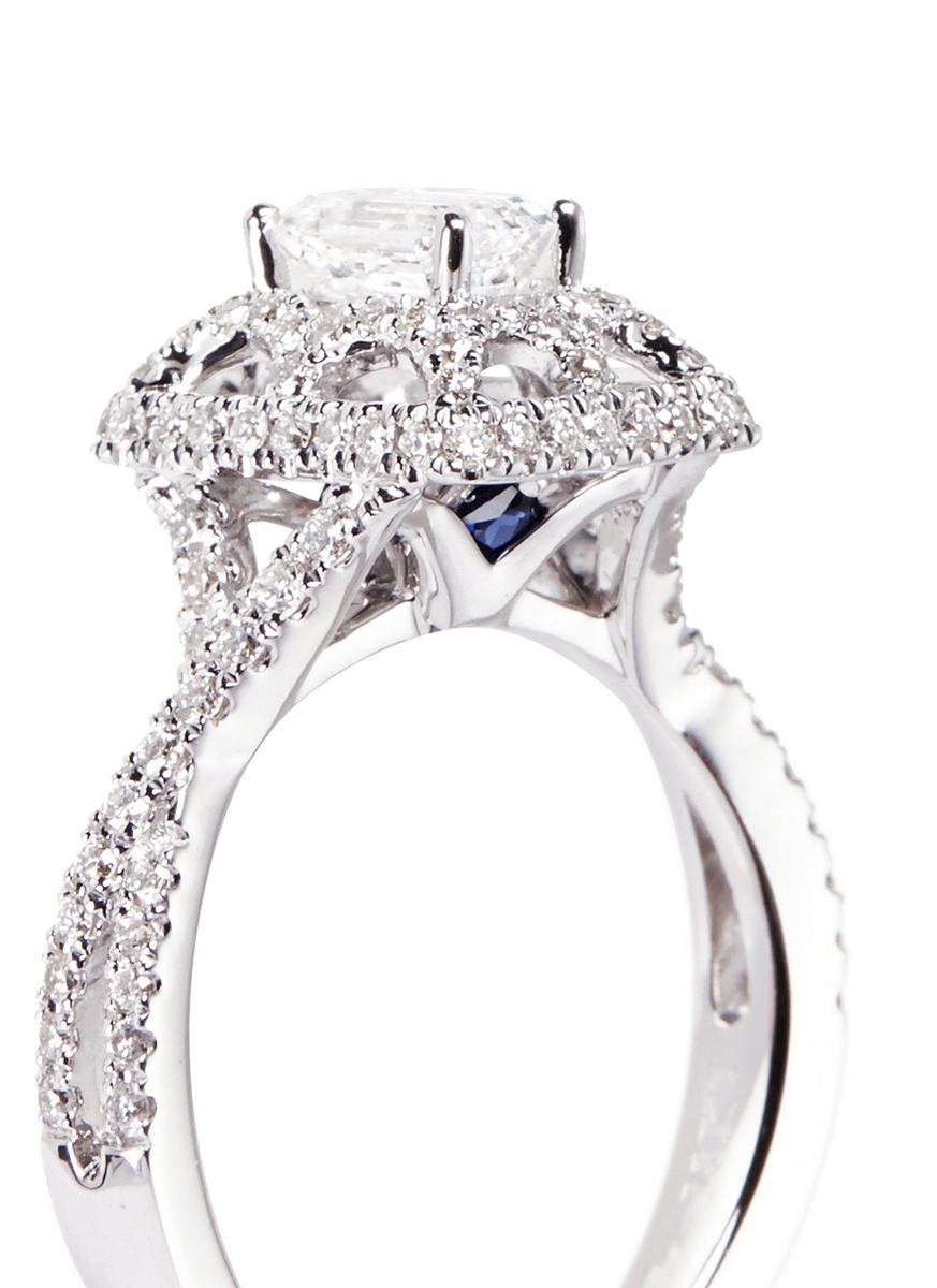 Lyst Vera Wang Love Tiara Diamond And White Gold Engagement Ring