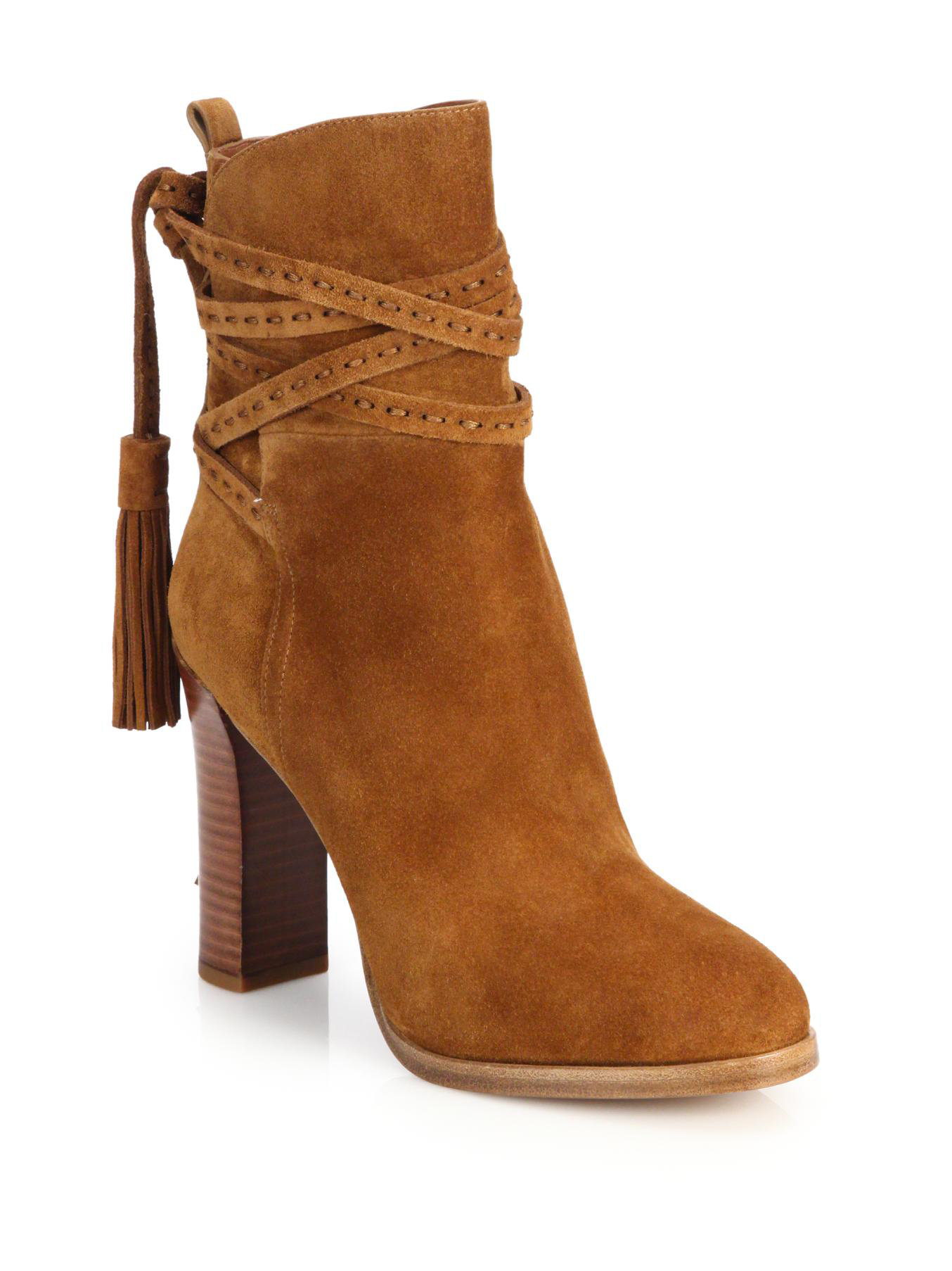 michael kors palmer suede tassel ankle boots in brown lyst