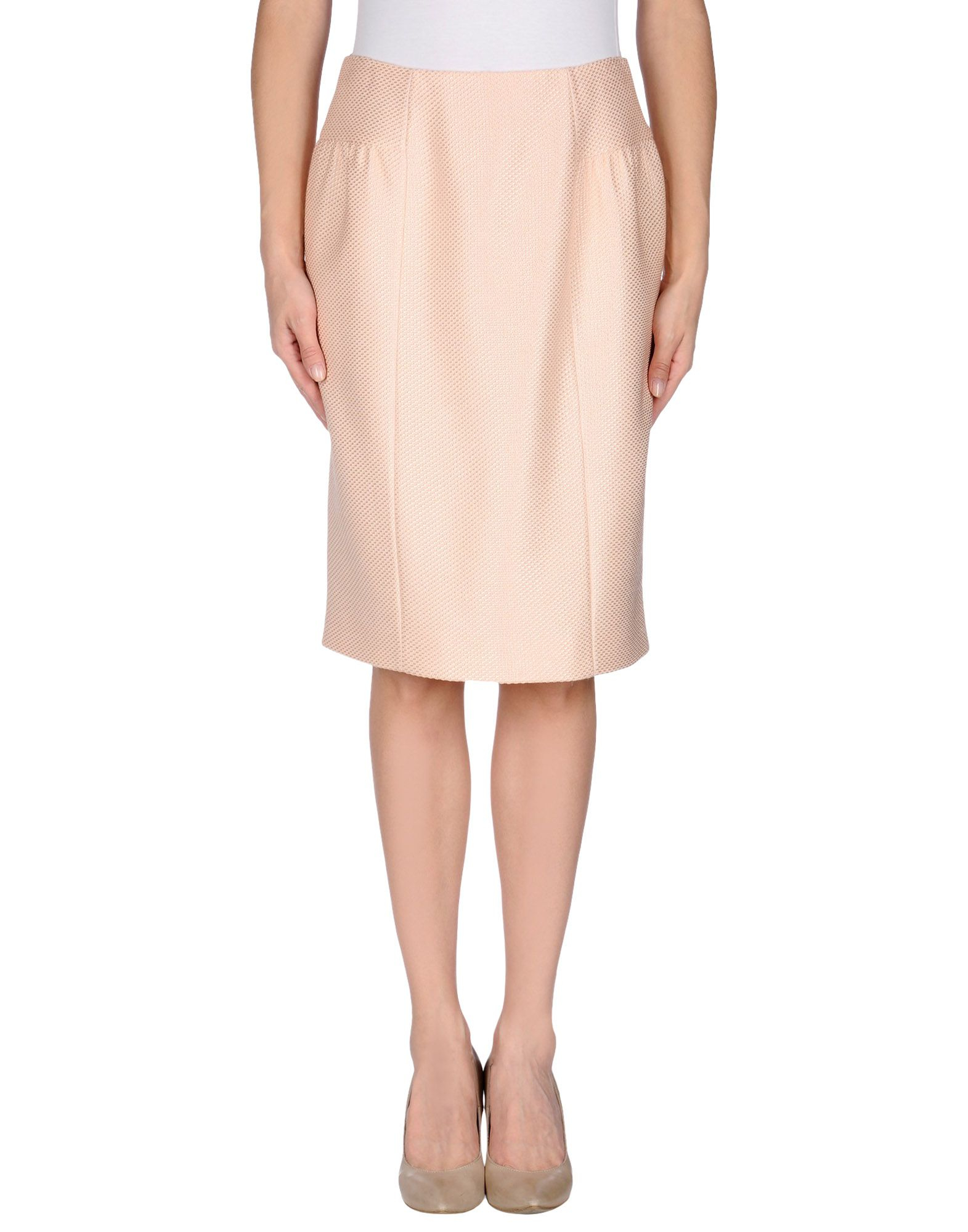 moschino knee length skirt in pink lyst