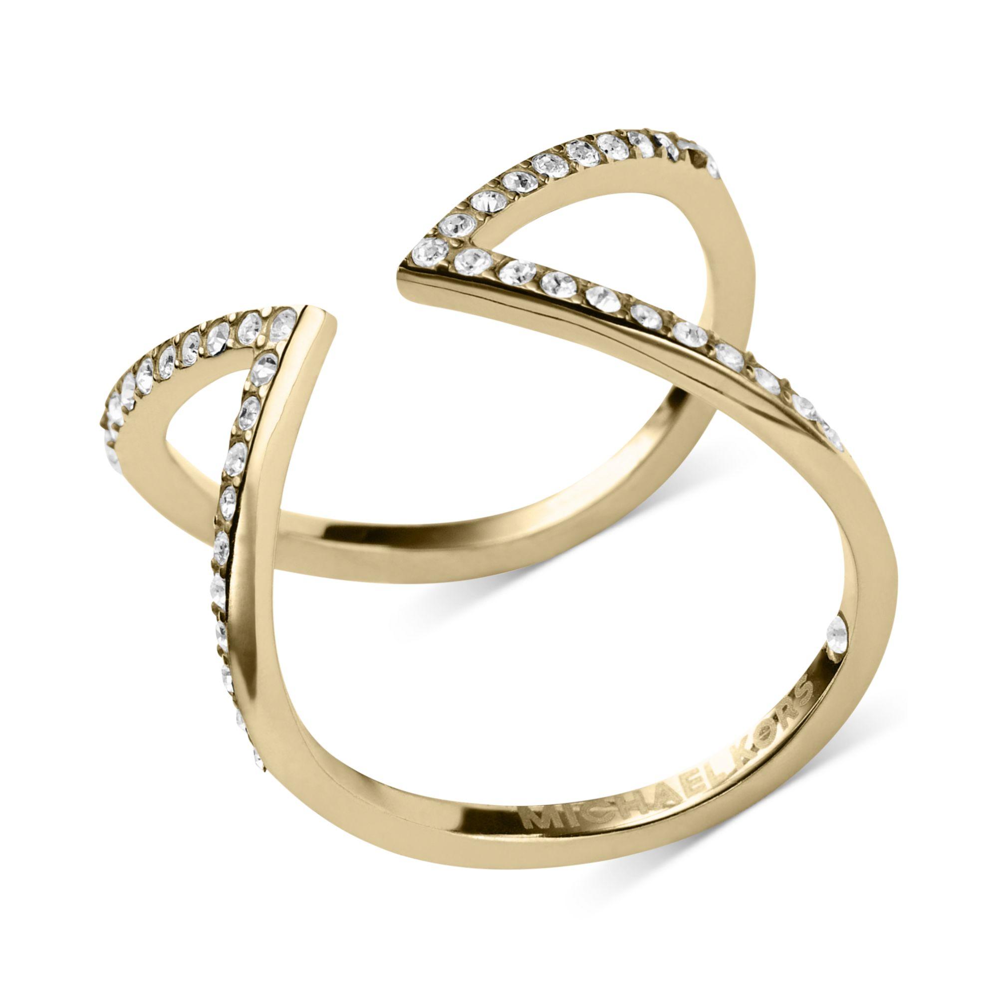 michael kors open arrow clear pav ring in gold lyst