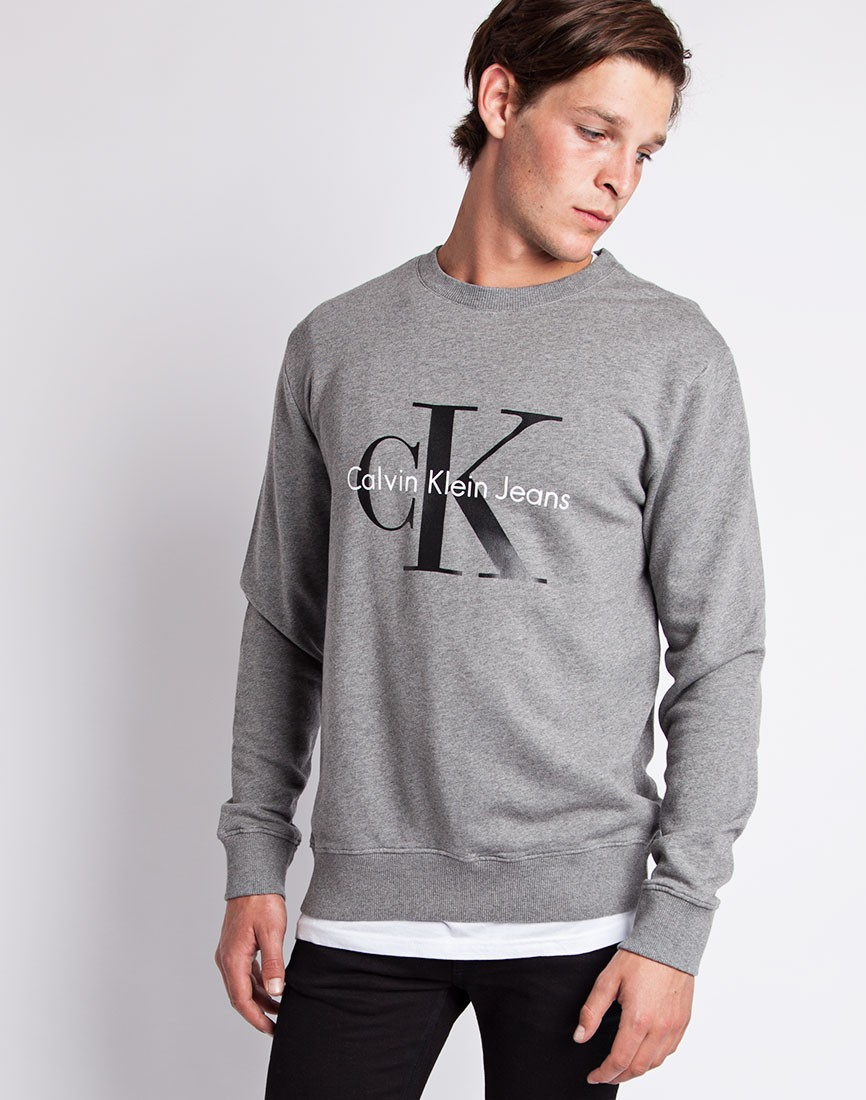calvin klein jeans classic sweatshirt grey in gray for men lyst. Black Bedroom Furniture Sets. Home Design Ideas