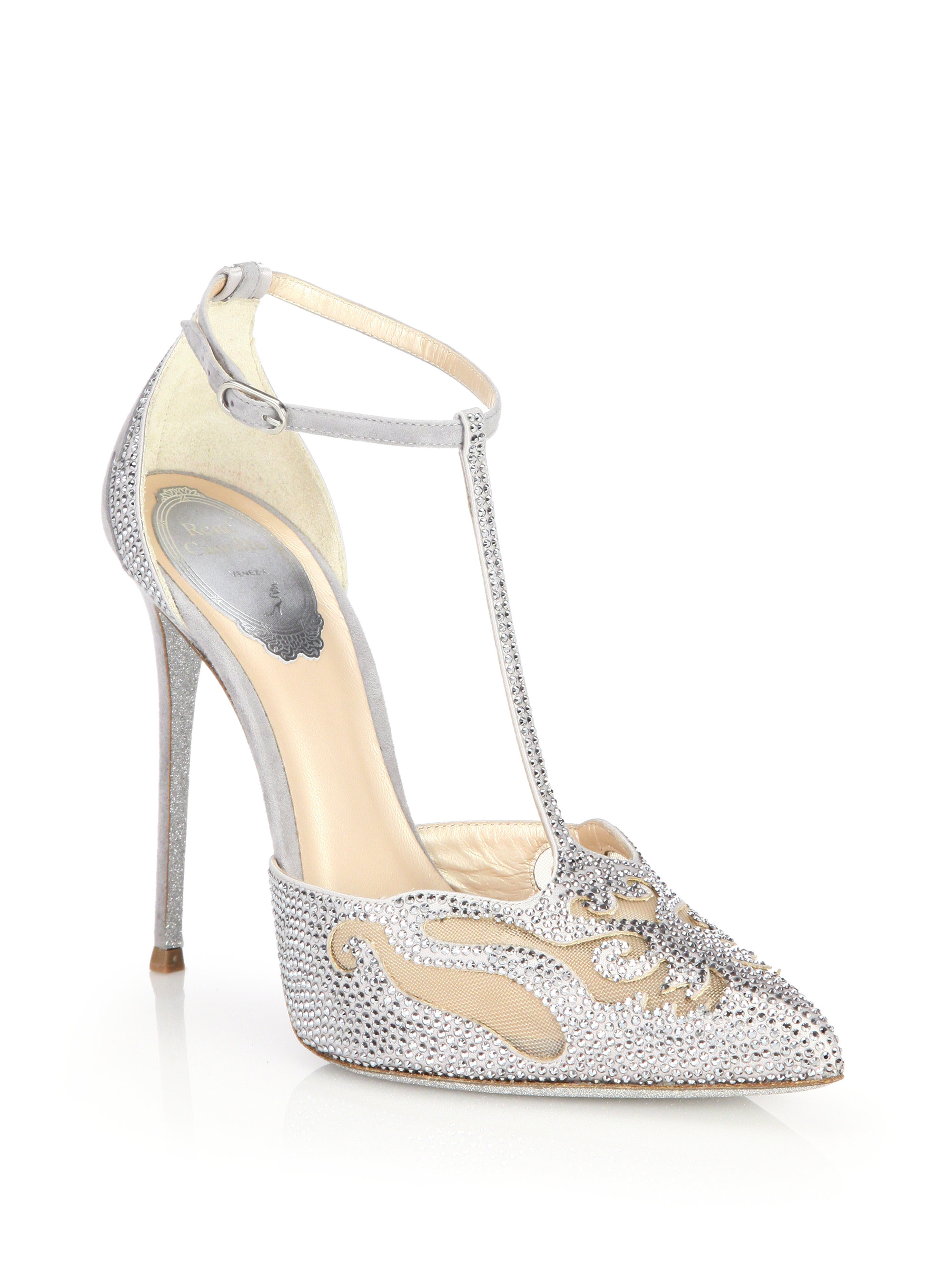 Lyst Rene Caovilla Jeweled Suede Amp Mesh T Strap Pumps In