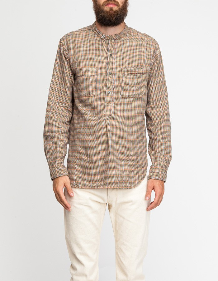 Engineered Garments Banded Collar Shirt In Natural For Men