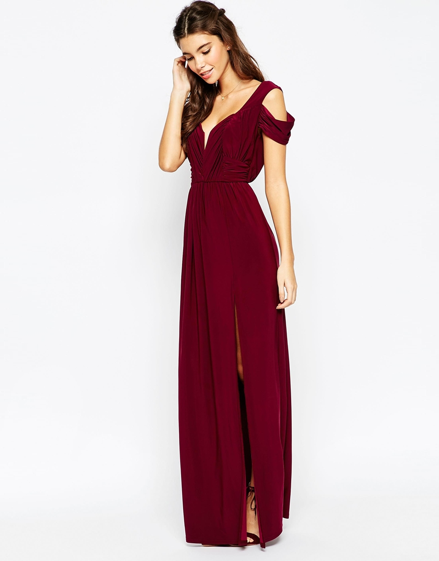 Lyst Asos Wedding Drape Cold Shoulder Maxi Dress In Purple