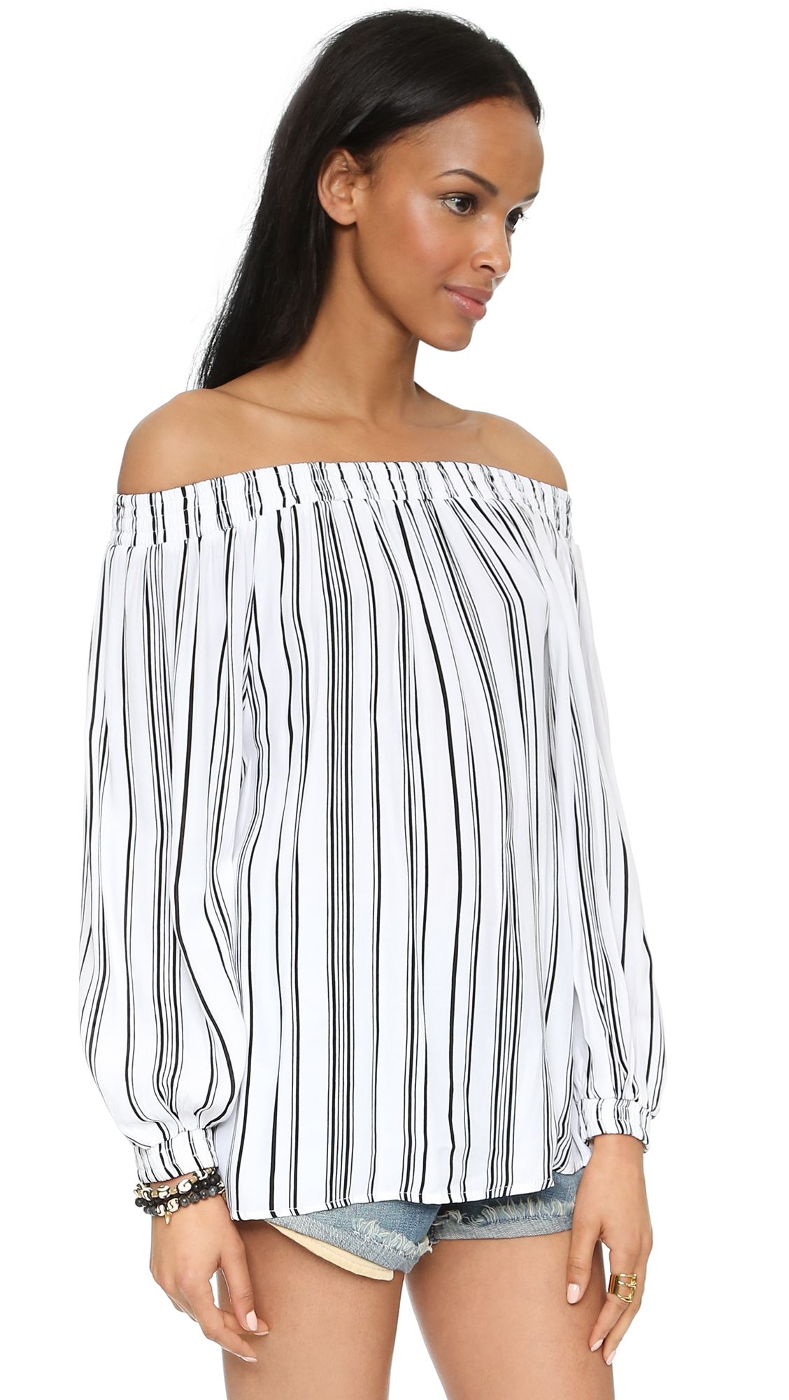 3d362579a66855 Lyst - MLM Label Align Off The Shoulder Top - Stripe in White