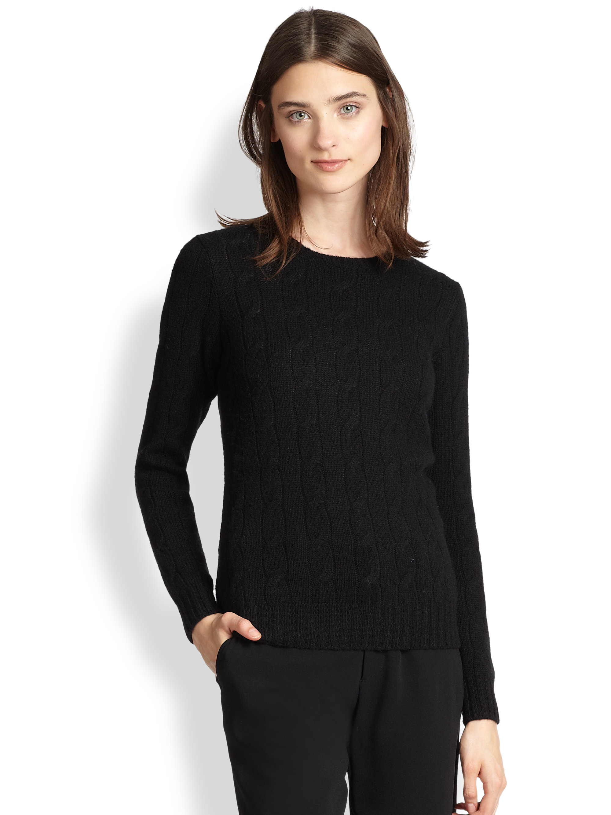 Ralph lauren black label Cable-knit Cashmere Sweater in Black | Lyst