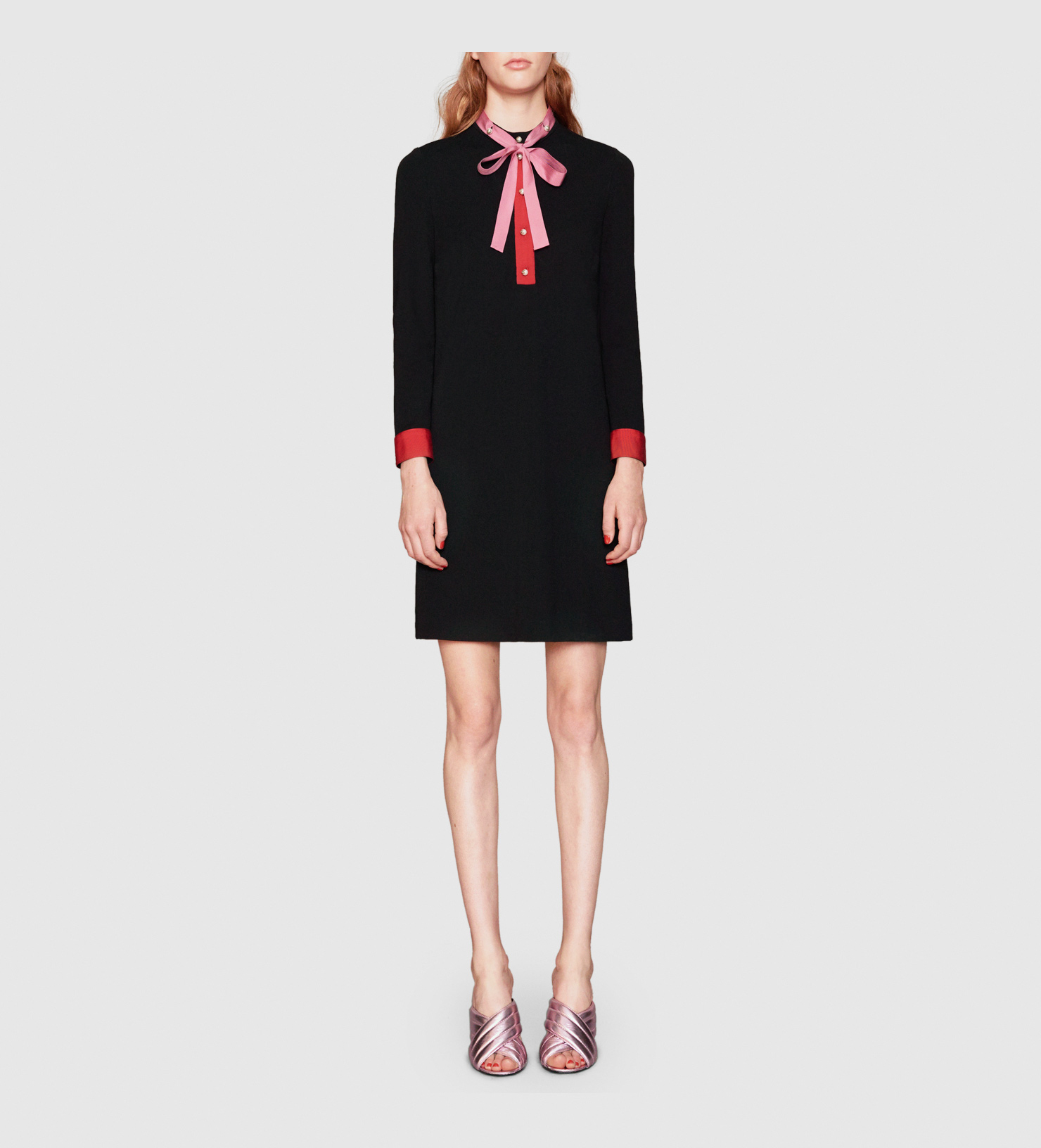 Gucci stretch viscose shirt dress in black lyst for How to stretch a dress shirt