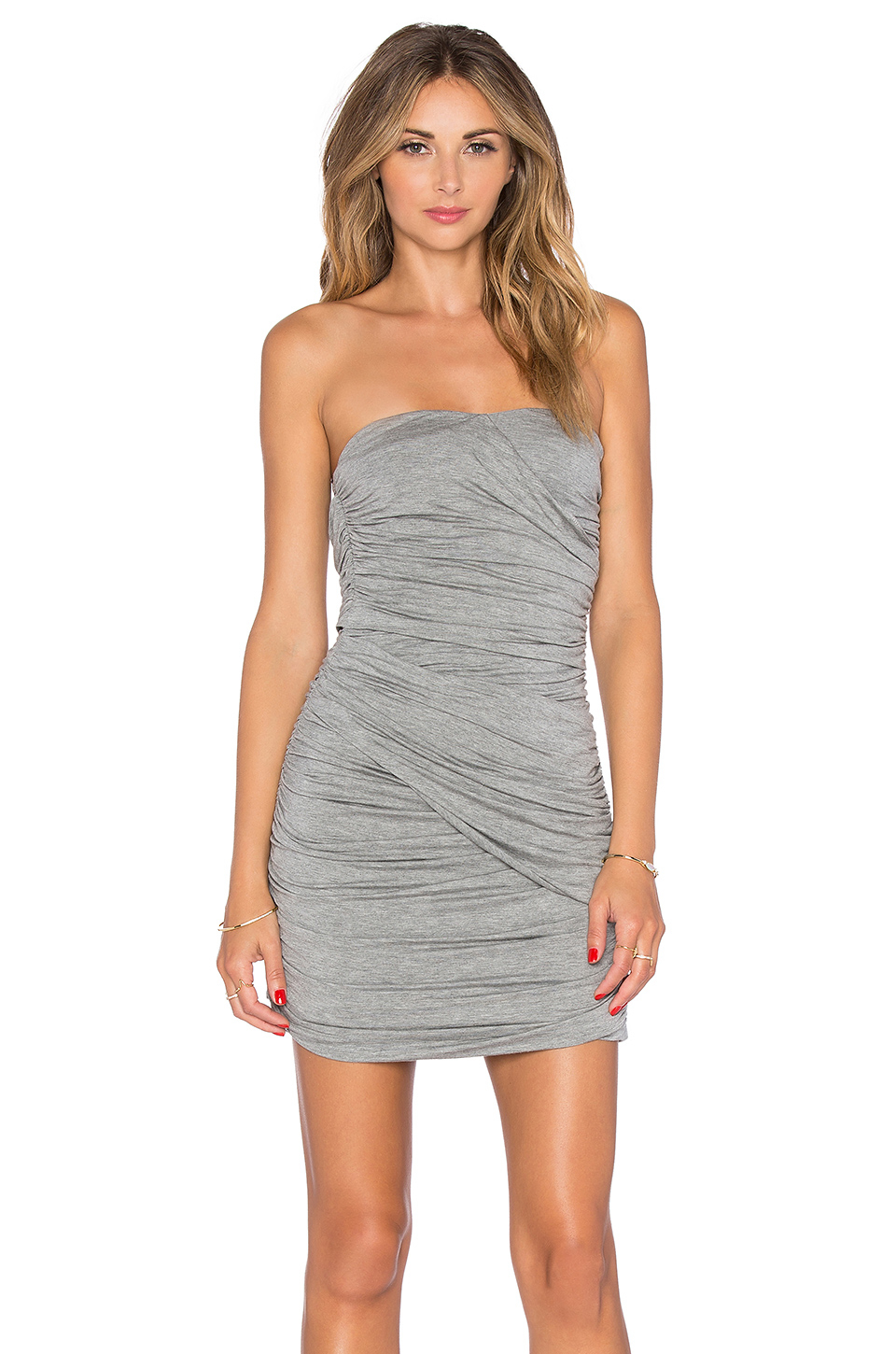 55b53b403fd7 Lyst - Blaque Label Ruched Strapless Dress in Gray