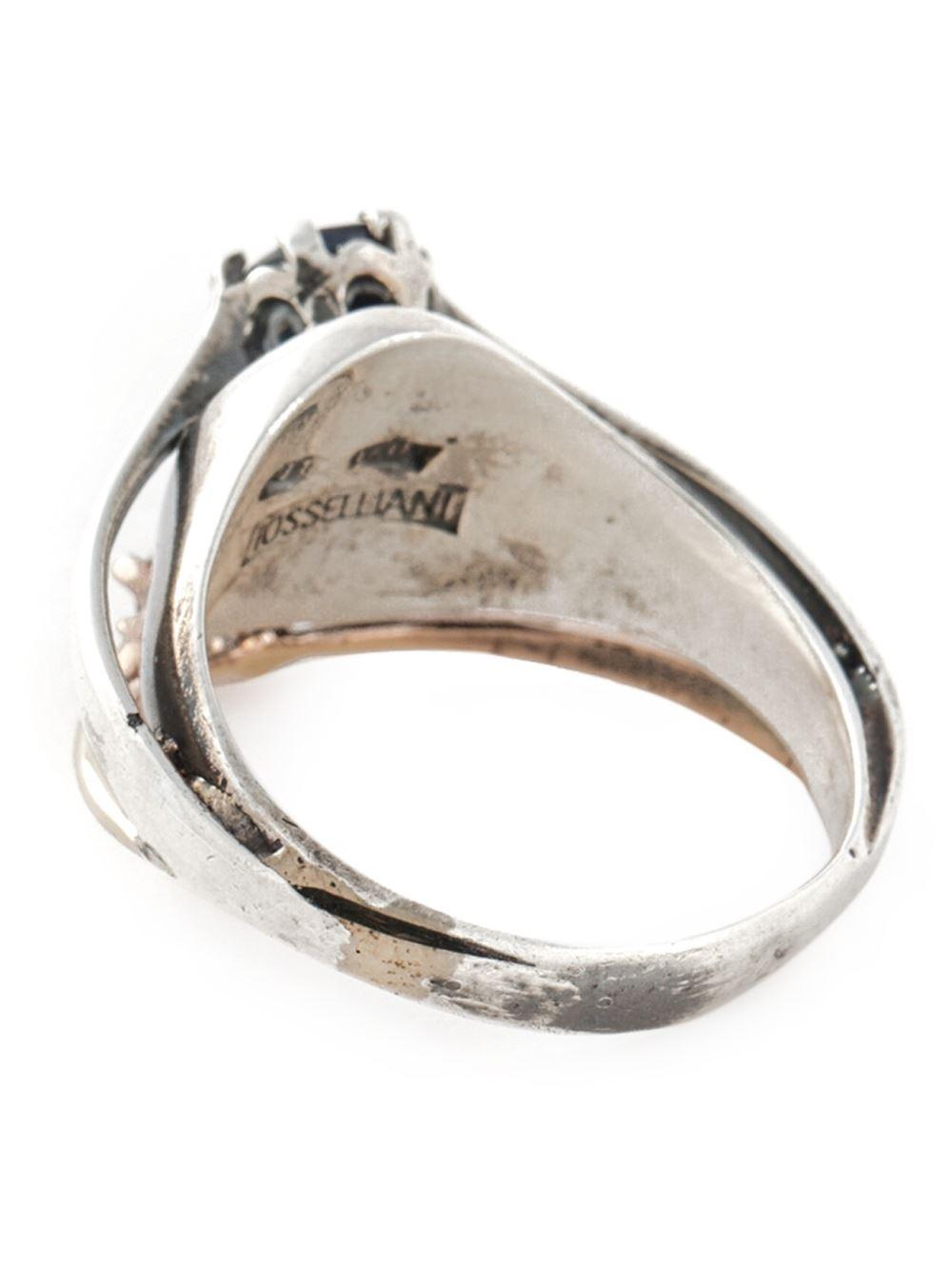 puro iosselliani signet ring in silver metallic lyst