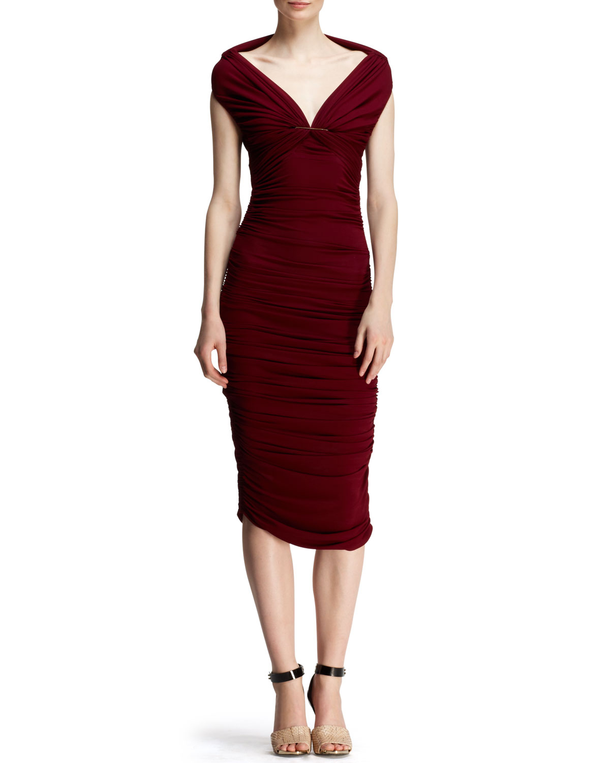 Lanvin Ruched Off Shoulder Pin Dress In Red Raisin Lyst