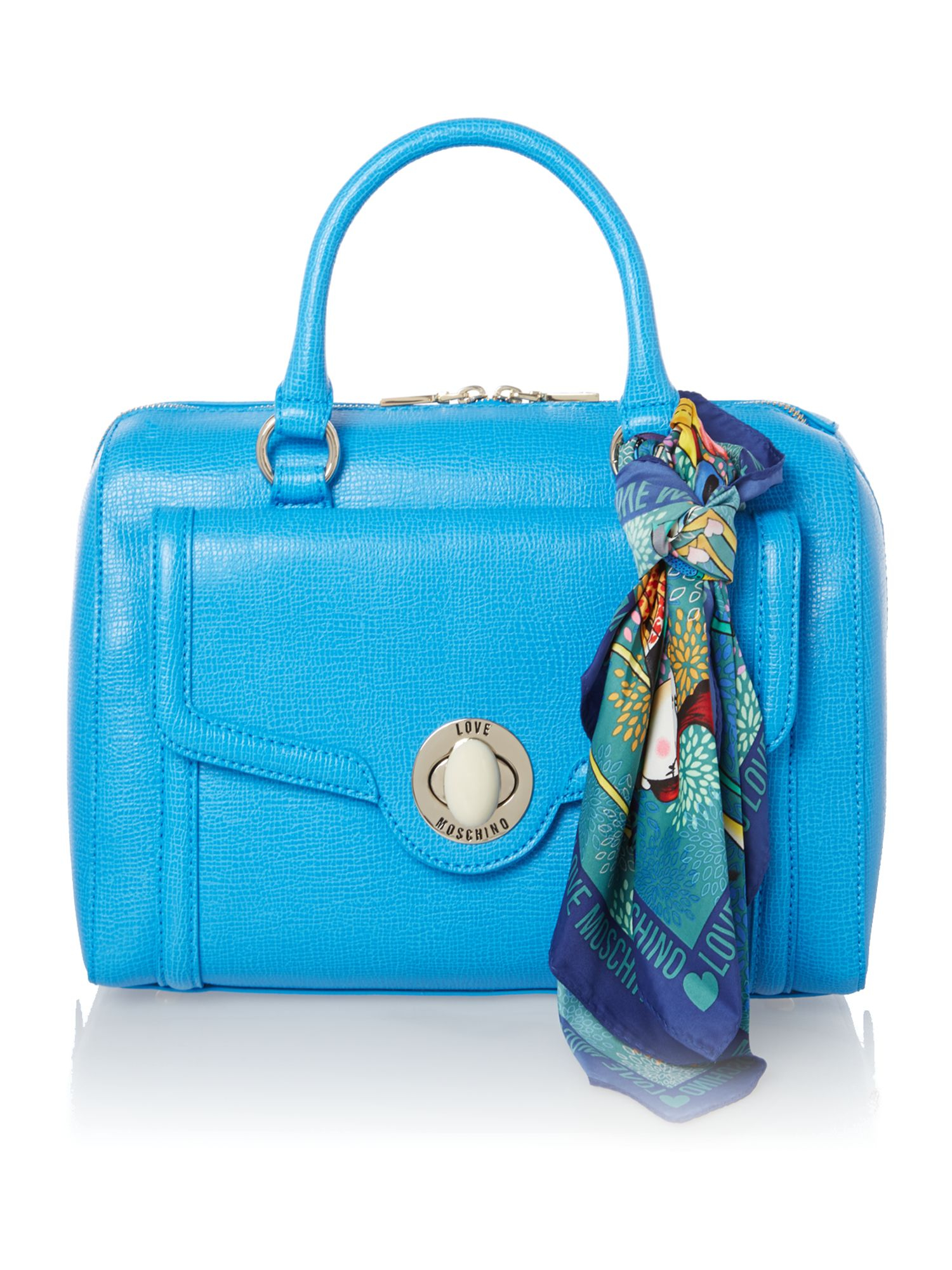 love moschino blue large saffiano bowling bag in blue lyst. Black Bedroom Furniture Sets. Home Design Ideas