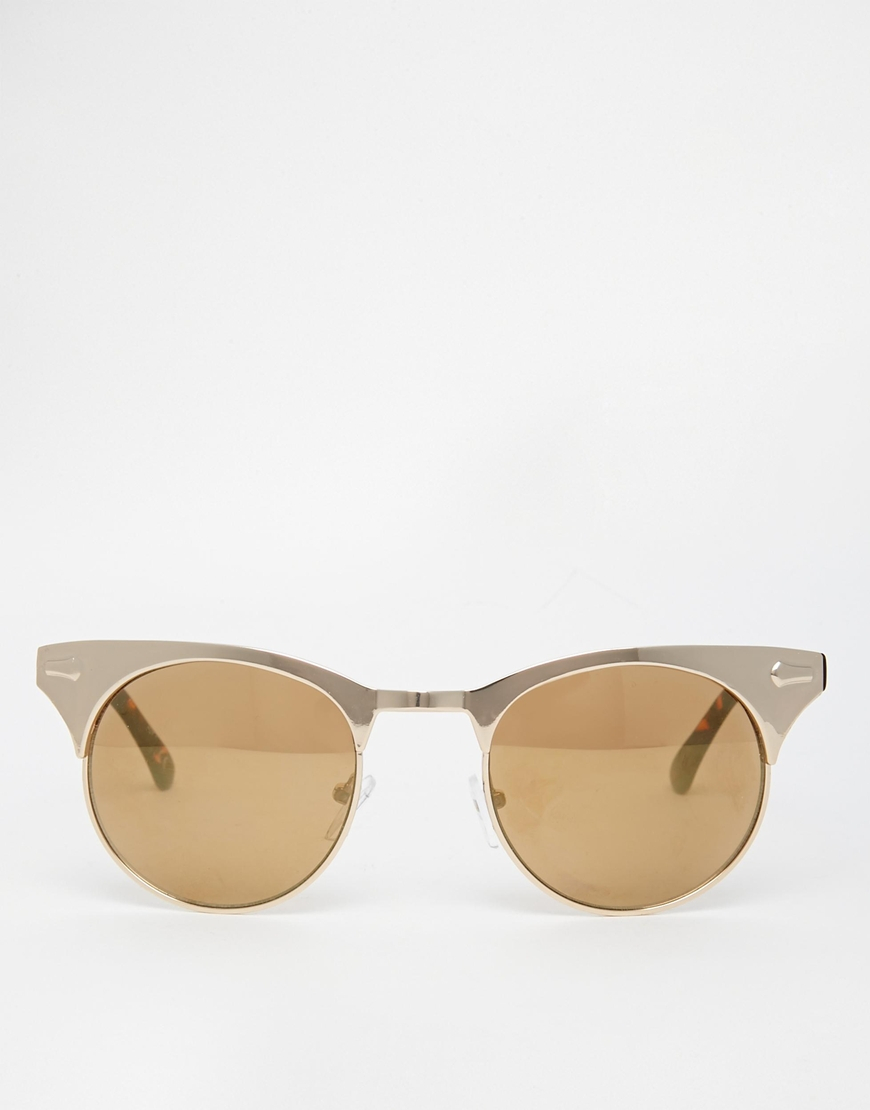 Asos Half Frame Metal Cat Eye Sunglasses in Gold Lyst