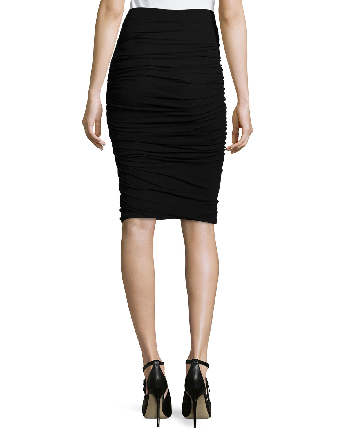 Fuzzi Ruched Tulle Pencil Skirt in Black | Lyst