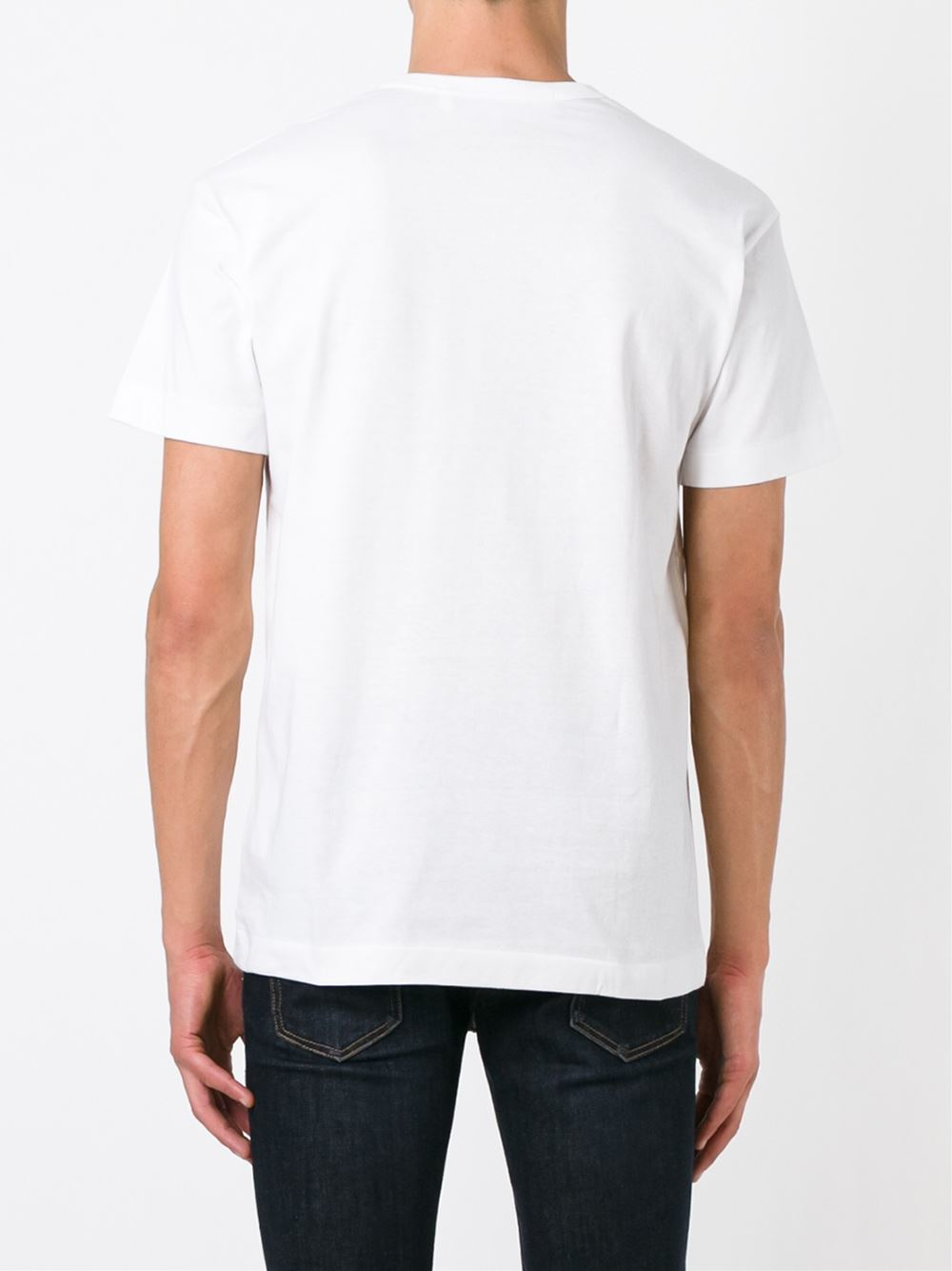 Play Comme Des Gar Ons Round Neck T Shirt In White For Men