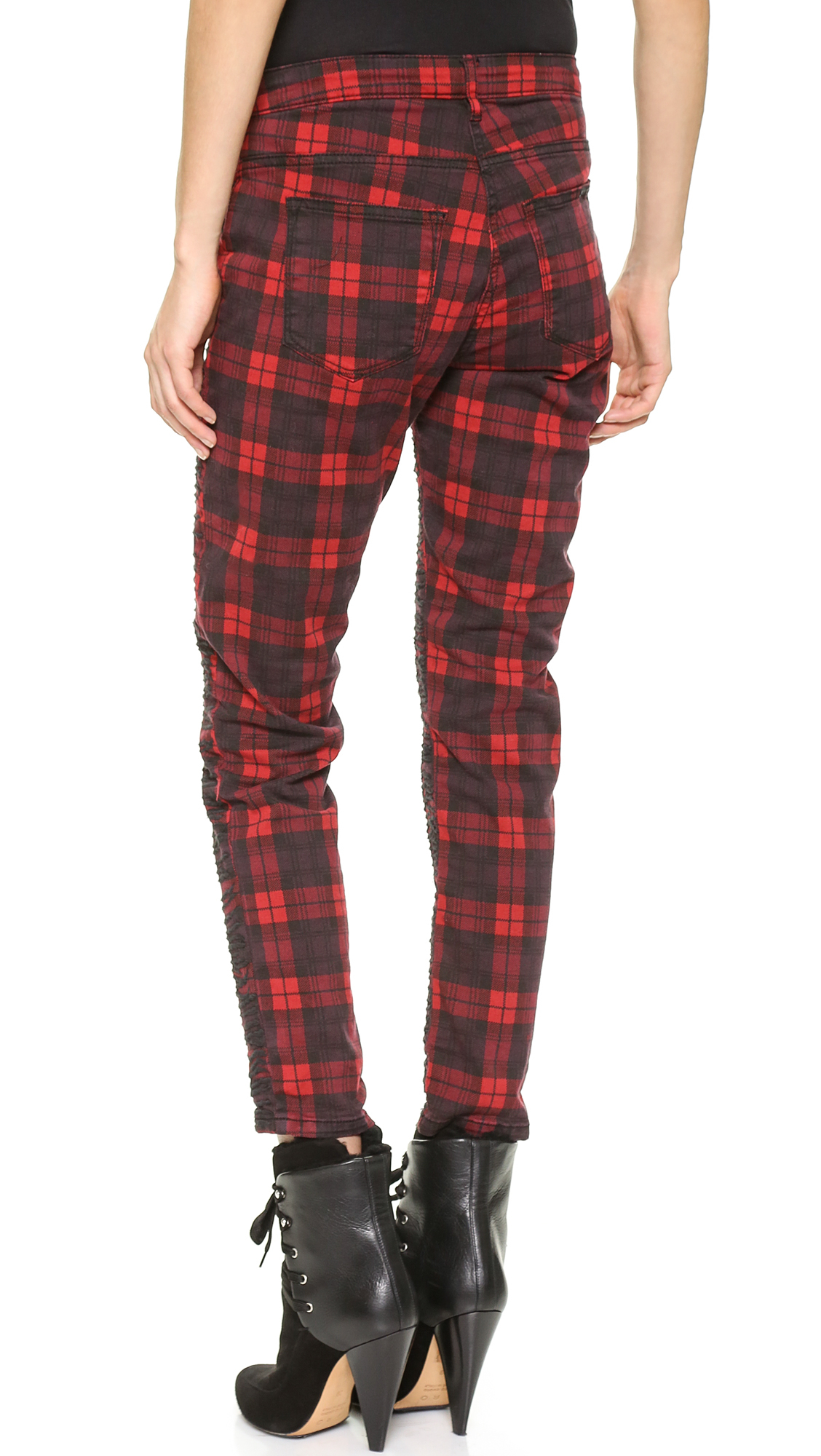 Maison scotch Plaid Pants - Black/Red in Red | Lyst