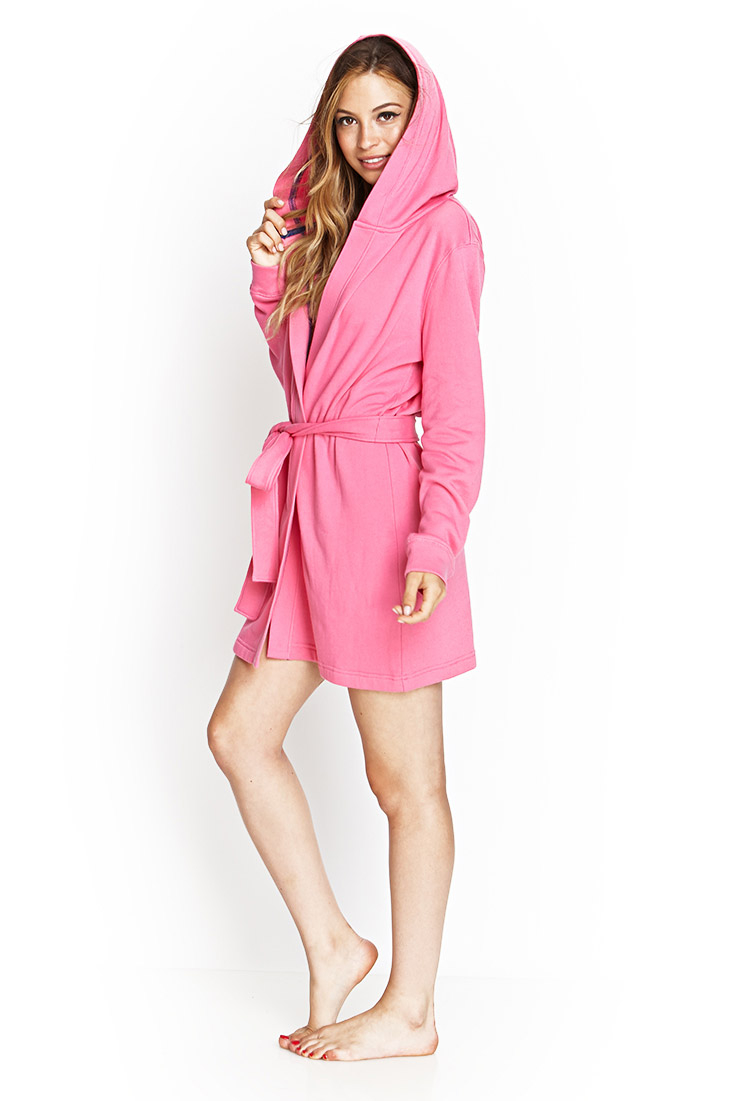 Forever 21 Hooded Terrycloth Robe In Pink Lyst