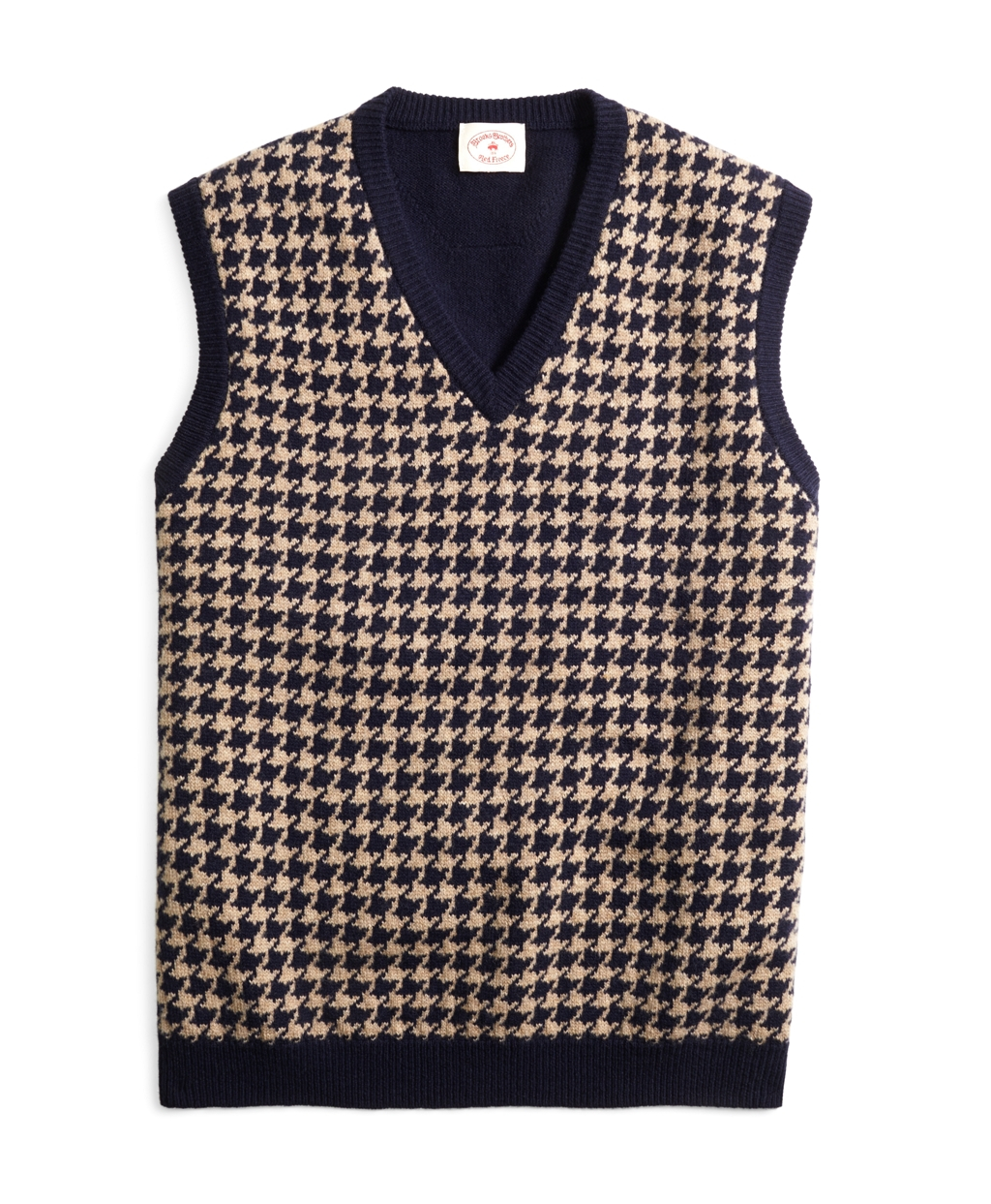 Brooks brothers Houndstooth Sweater Vest in Blue for Men | Lyst