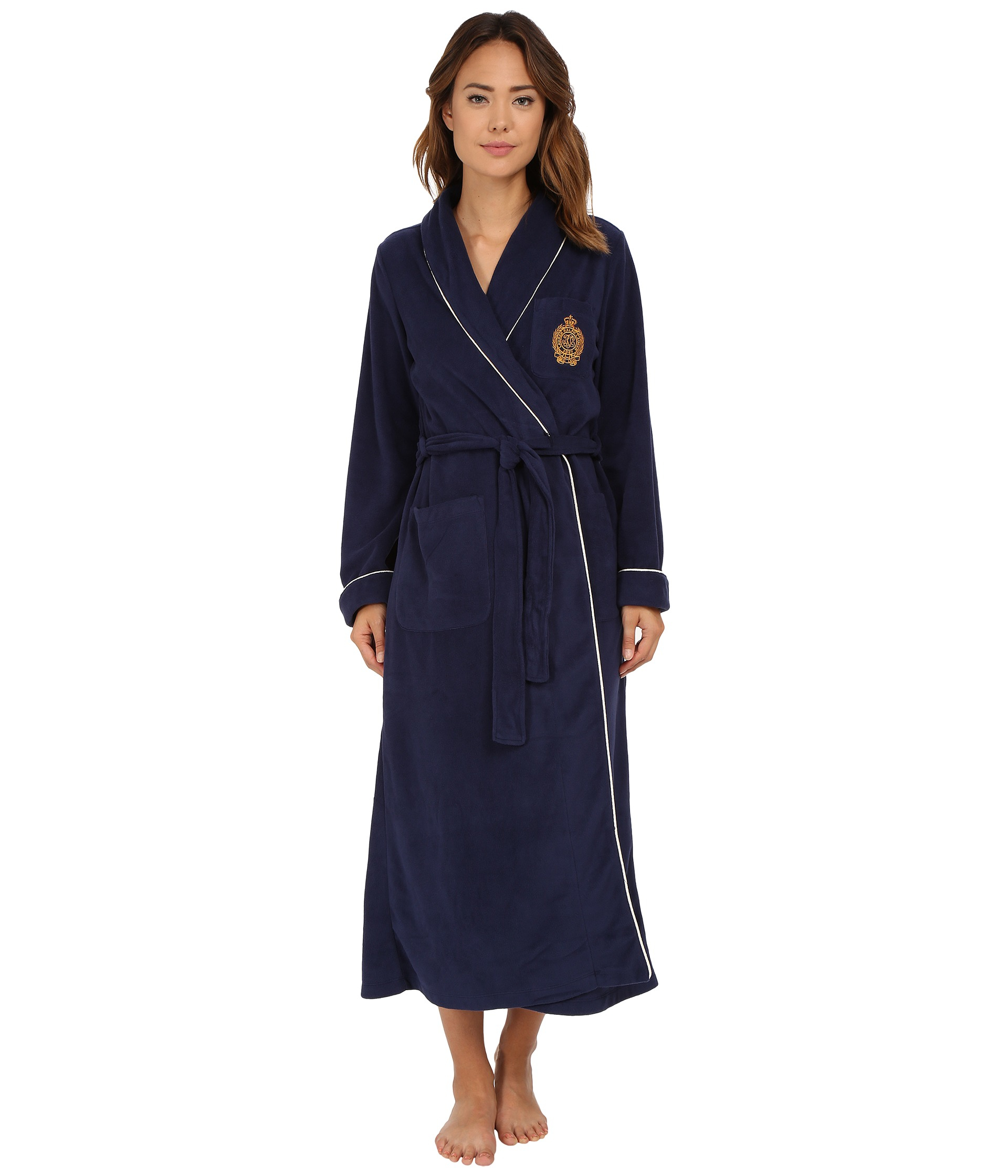 lauren by ralph lauren folded dalton fleece long robe in blue lyst. Black Bedroom Furniture Sets. Home Design Ideas