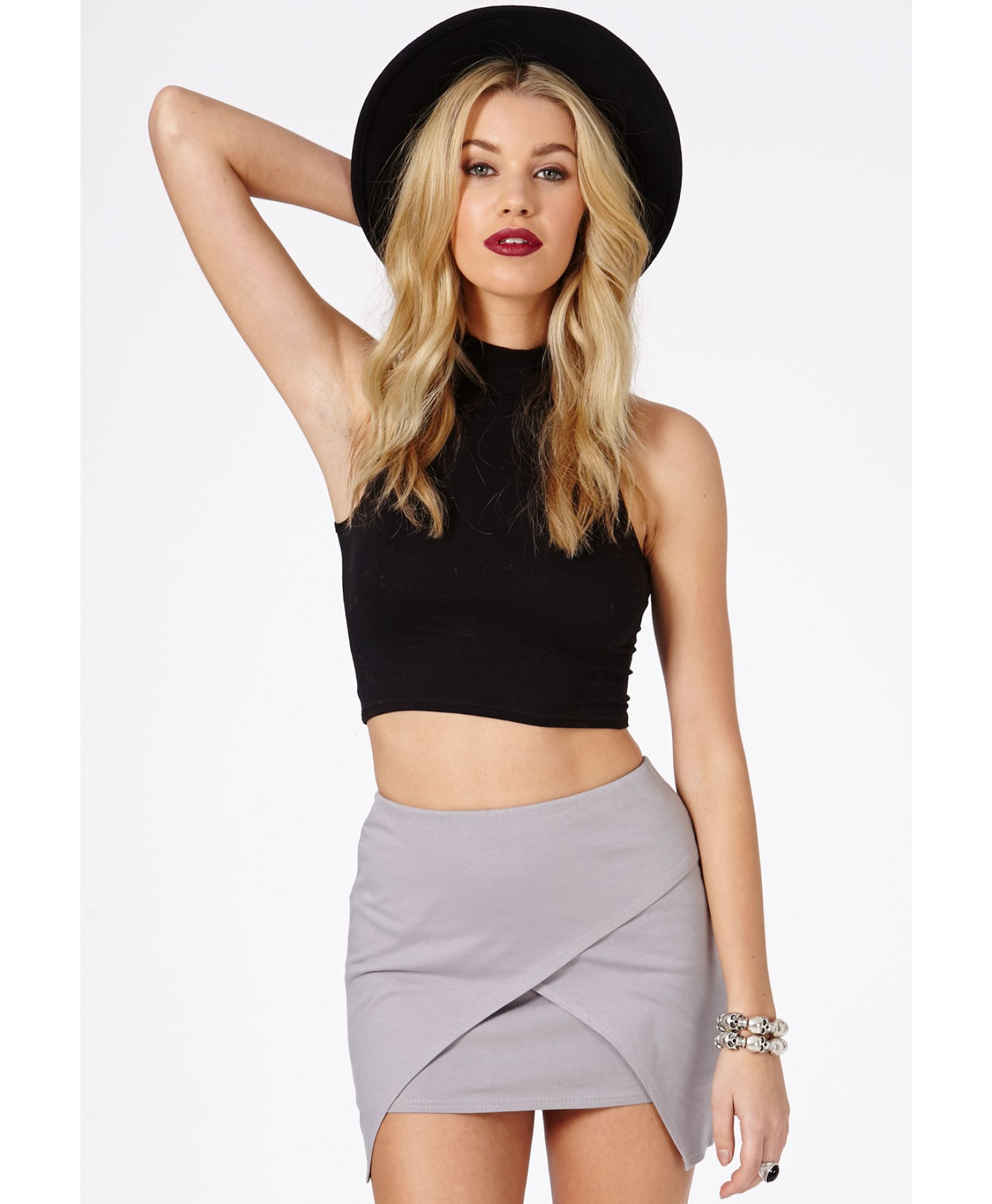 Missguided Lennia Wrap Over Mini Skirt In Light Grey in Gray | Lyst