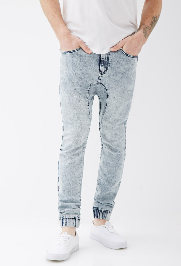 Forever 21 Drop-crotch Denim Joggers in Blue for Men - Lyst b1b70944e