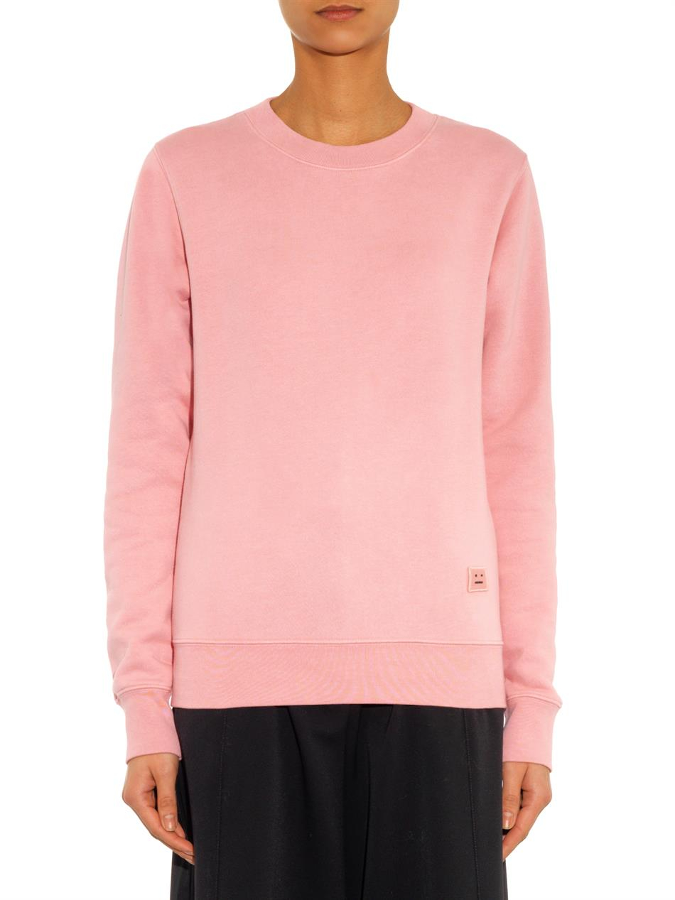 Acne studios Vermina Fleece Sweatshirt in Pink | Lyst