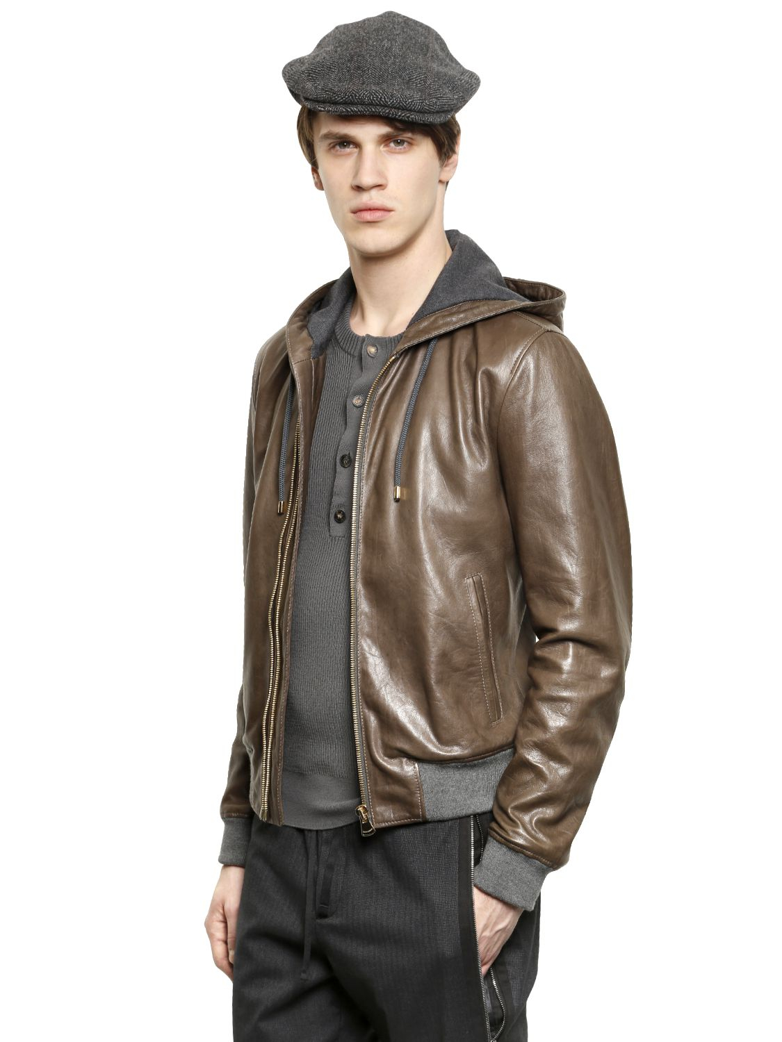 lyst dolce gabbana hooded waxed nappa leather bomber jacket in brown for men. Black Bedroom Furniture Sets. Home Design Ideas